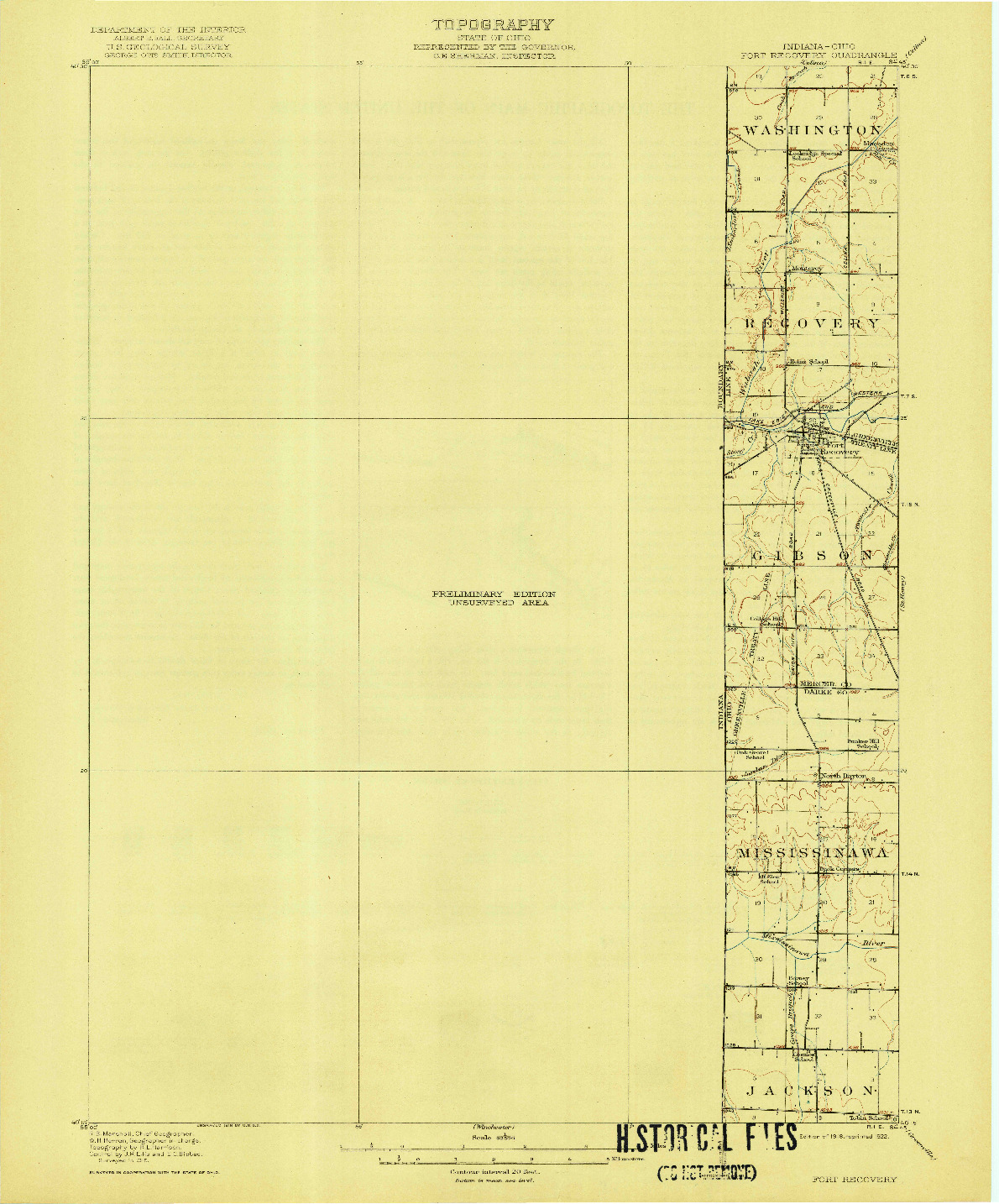 USGS 1:62500-SCALE QUADRANGLE FOR FORT RECOVERY, IN 1918
