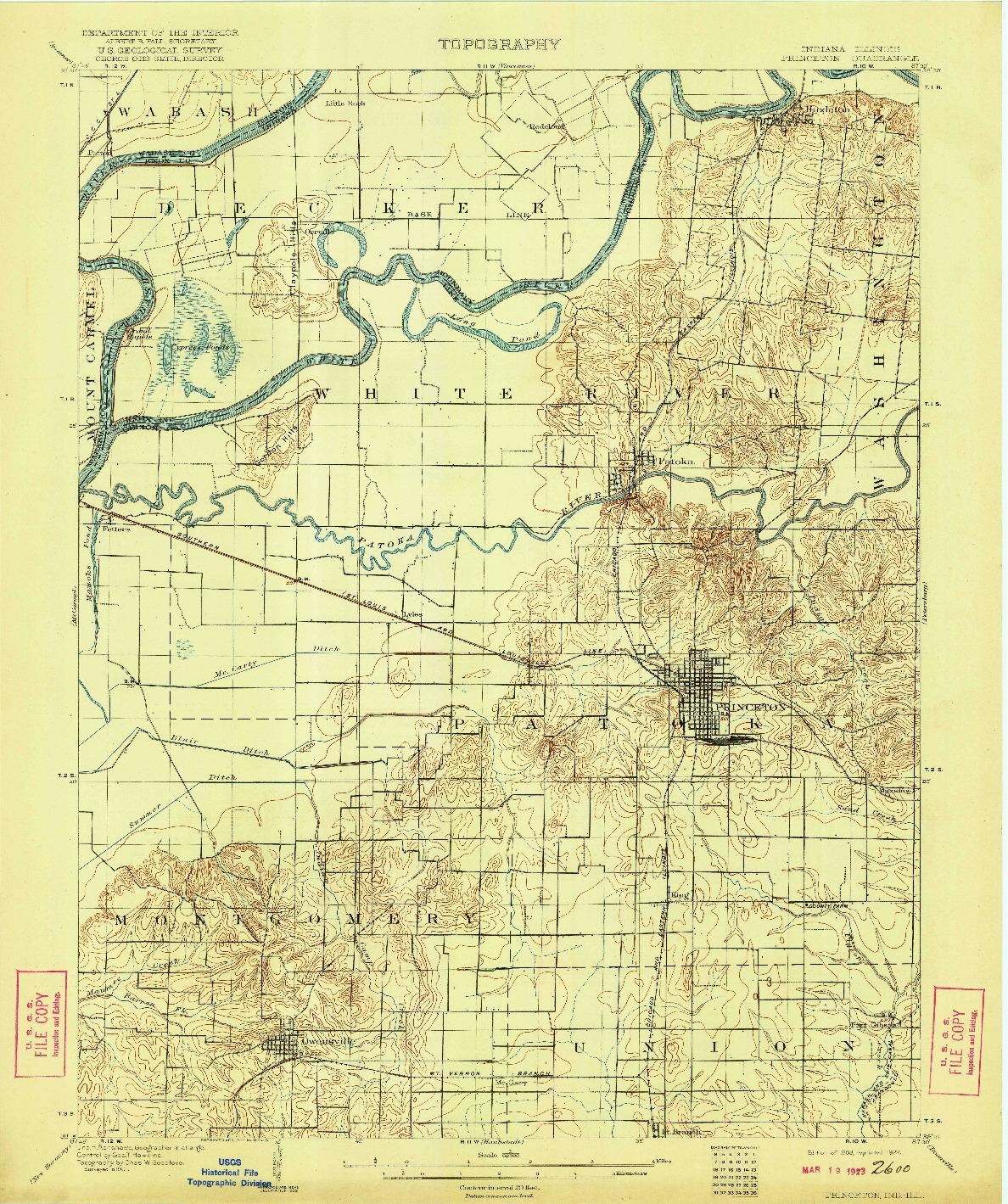 USGS 1:62500-SCALE QUADRANGLE FOR PRINCETON, IN 1903