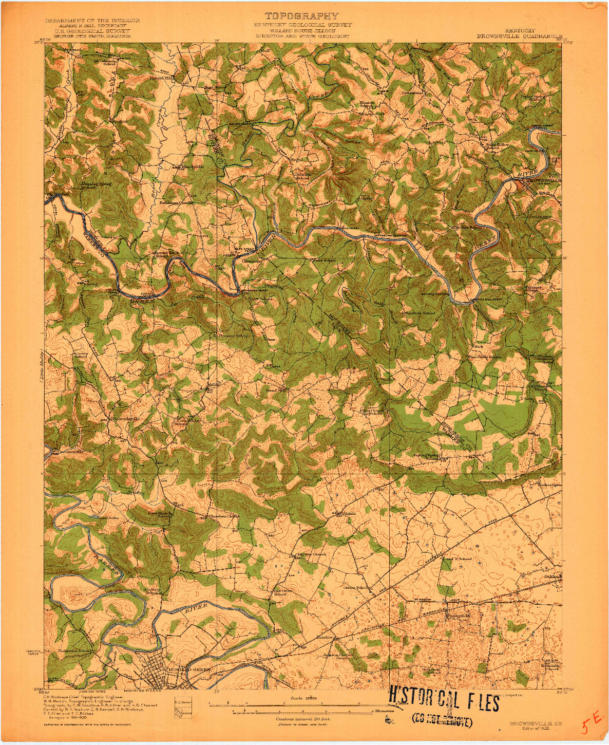 USGS 1:62500-SCALE QUADRANGLE FOR BROWNSVILLE, KY 1922