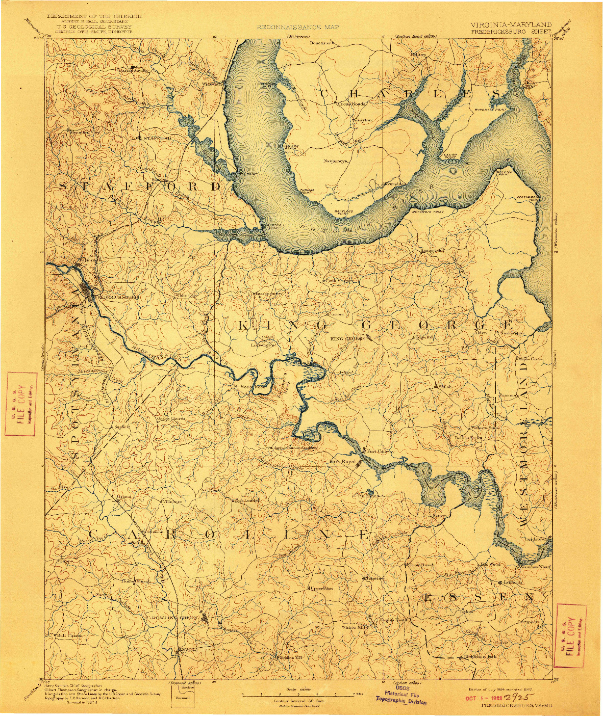 USGS 1:125000-SCALE QUADRANGLE FOR FREDERICKSBURG, VA 1894