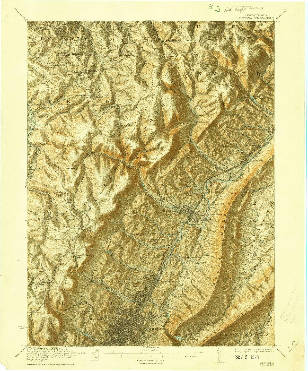 USGS 1:62500-SCALE QUADRANGLE FOR ALTOONA, PA 1922