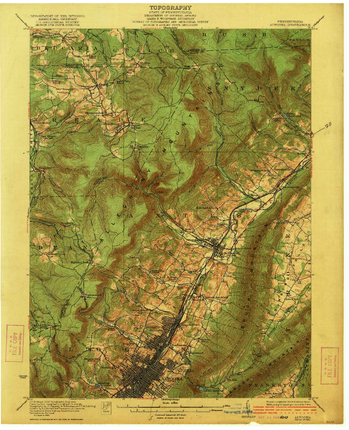 USGS 1:62500-SCALE QUADRANGLE FOR ALTOONA, PA 1922