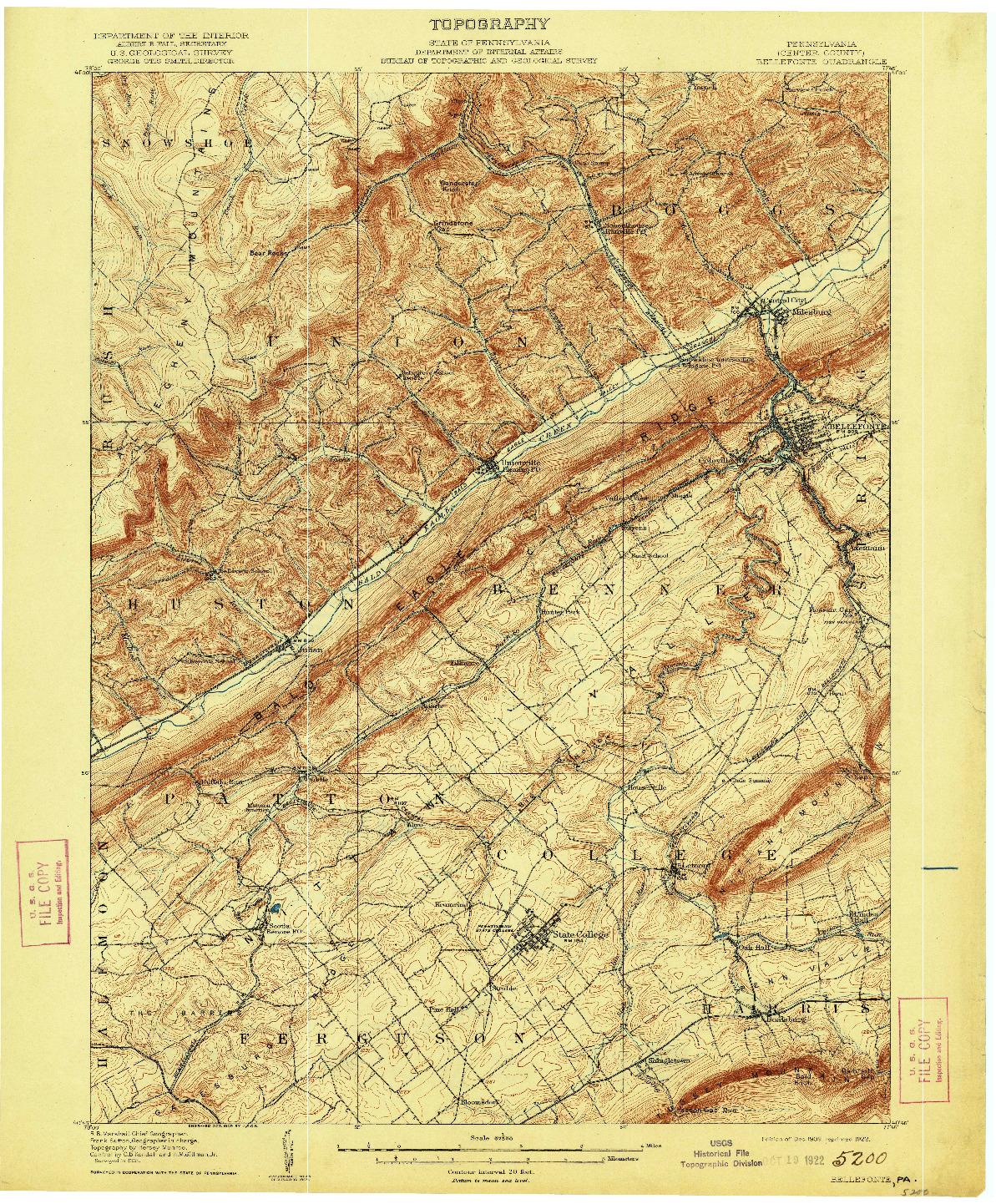 USGS 1:62500-SCALE QUADRANGLE FOR BELLEFONTE, PA 1909