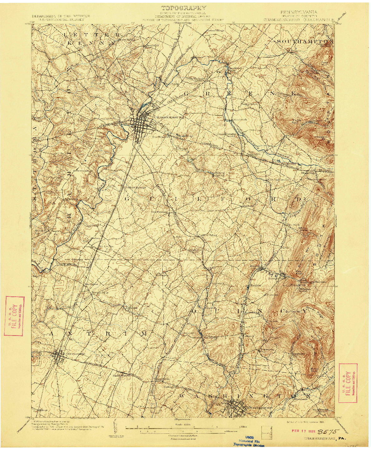 USGS 1:62500-SCALE QUADRANGLE FOR CHAMBERSBURG, PA 1902