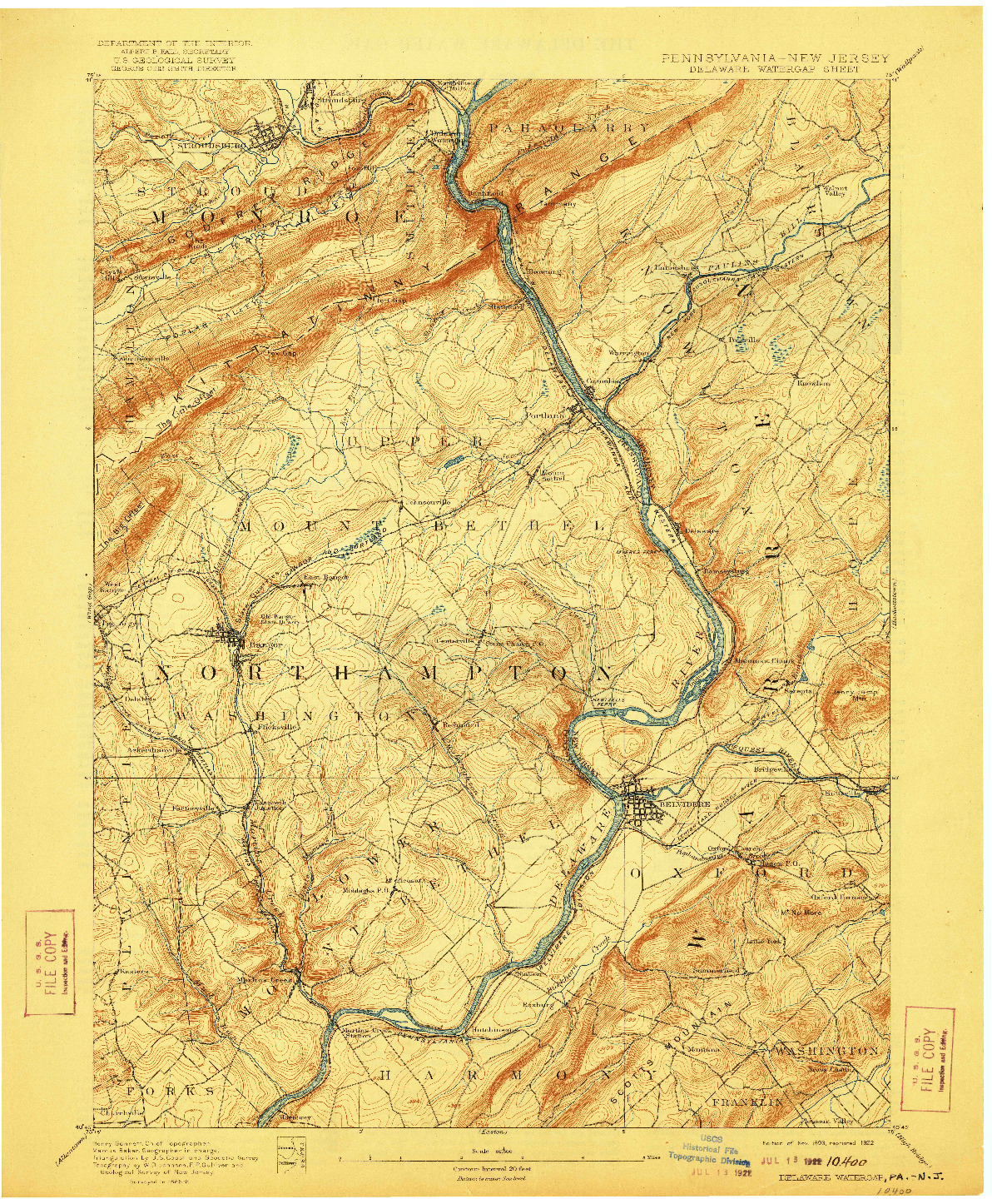 USGS 1:62500-SCALE QUADRANGLE FOR DELAWARE WATERGAP, PA 1893