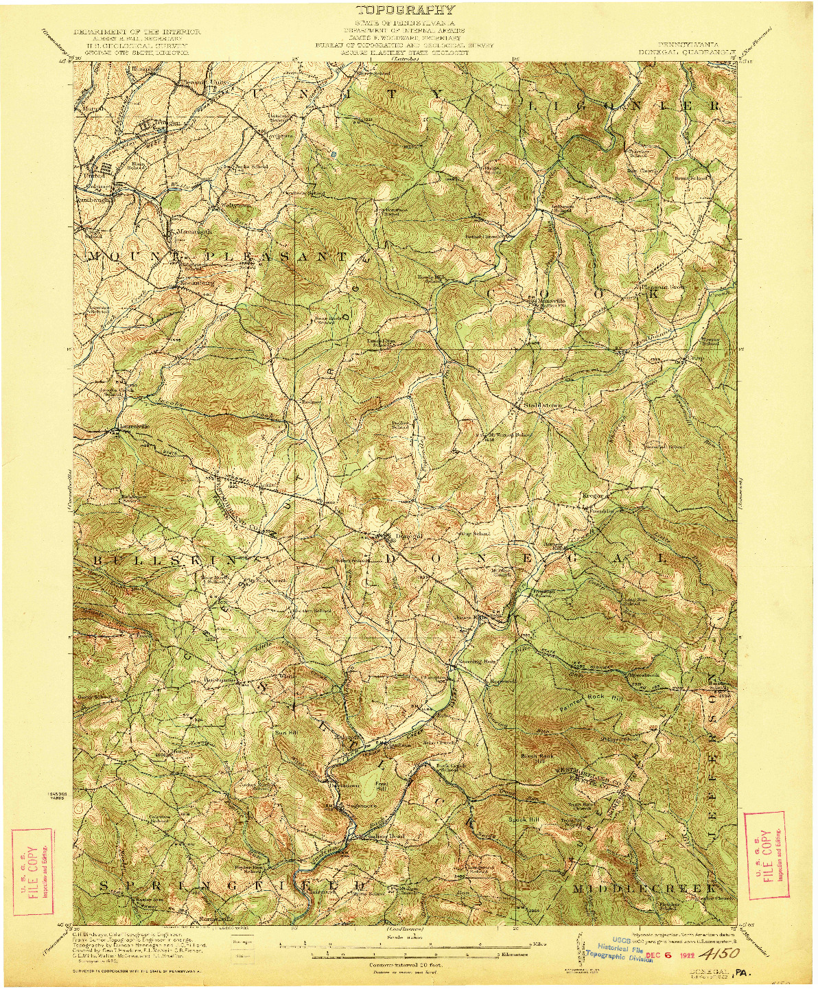 USGS 1:62500-SCALE QUADRANGLE FOR DONEGAL, PA 1922