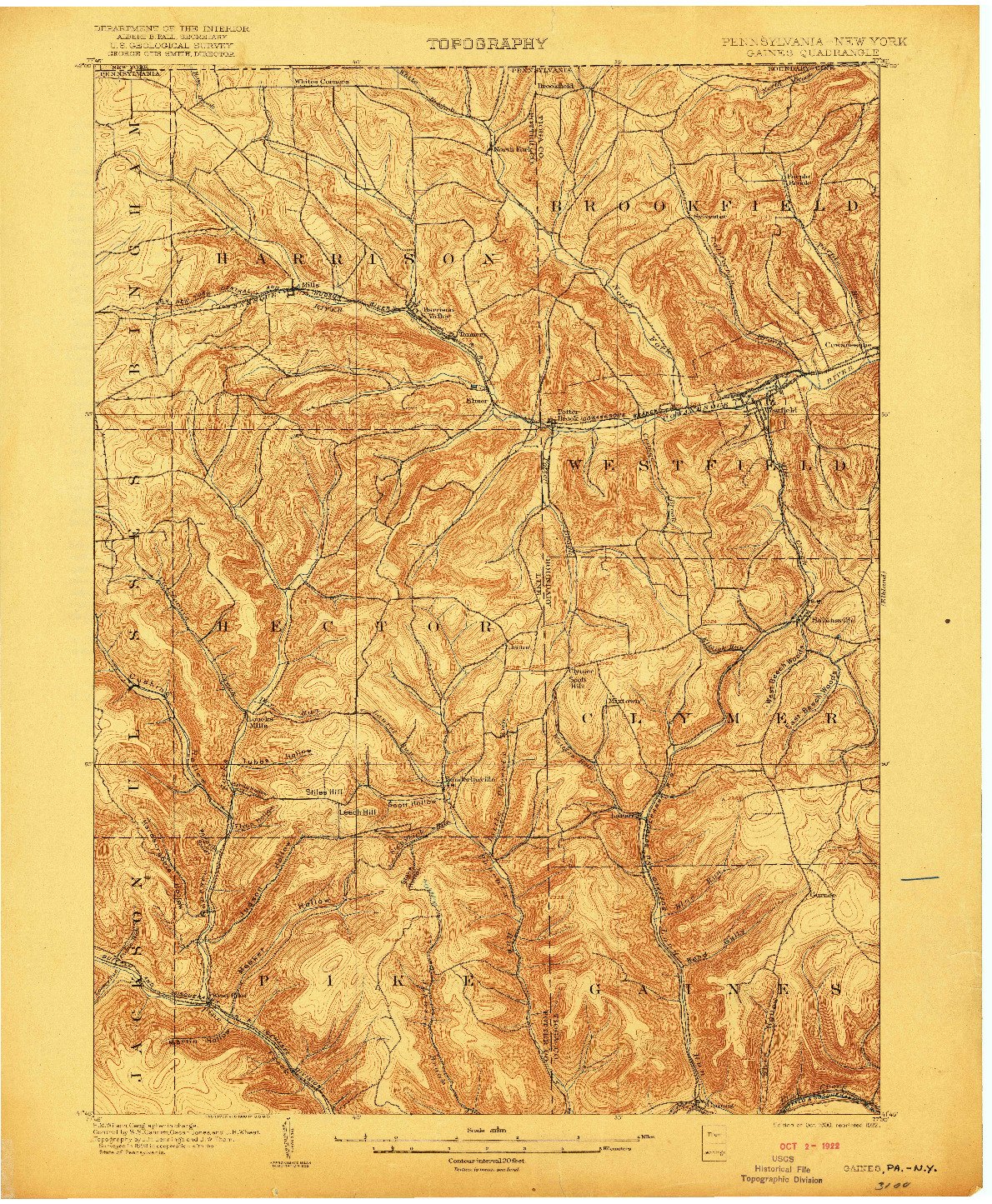 USGS 1:62500-SCALE QUADRANGLE FOR GAINES, PA 1900