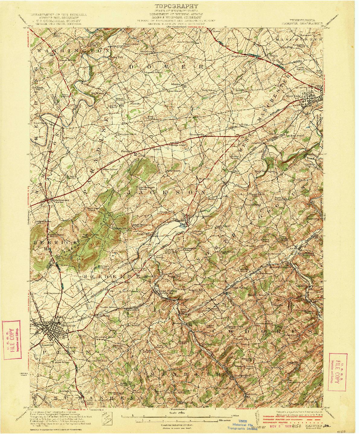 USGS 1:62500-SCALE QUADRANGLE FOR HANOVER, PA 1922