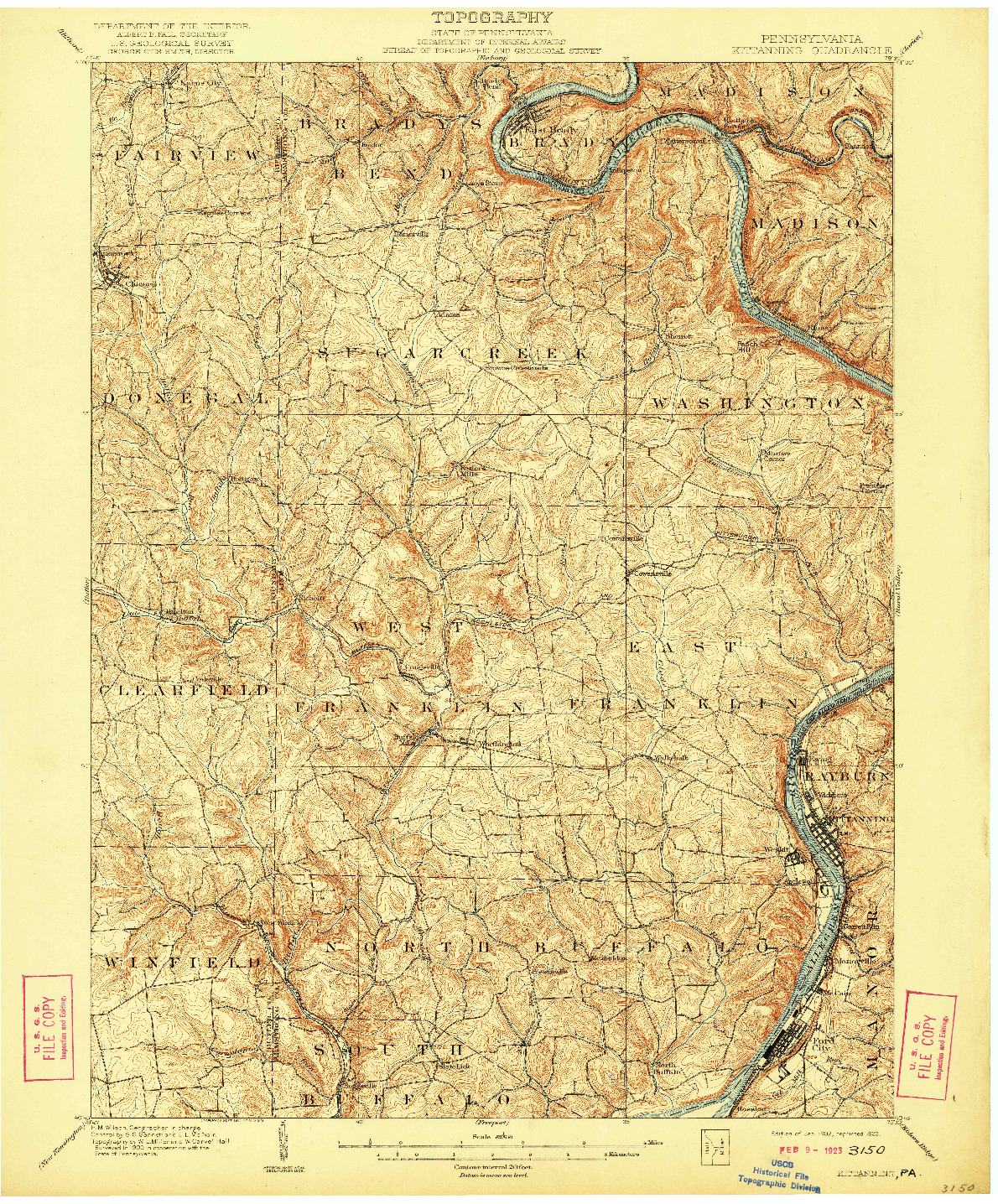 USGS 1:62500-SCALE QUADRANGLE FOR KITTANNING, PA 1902