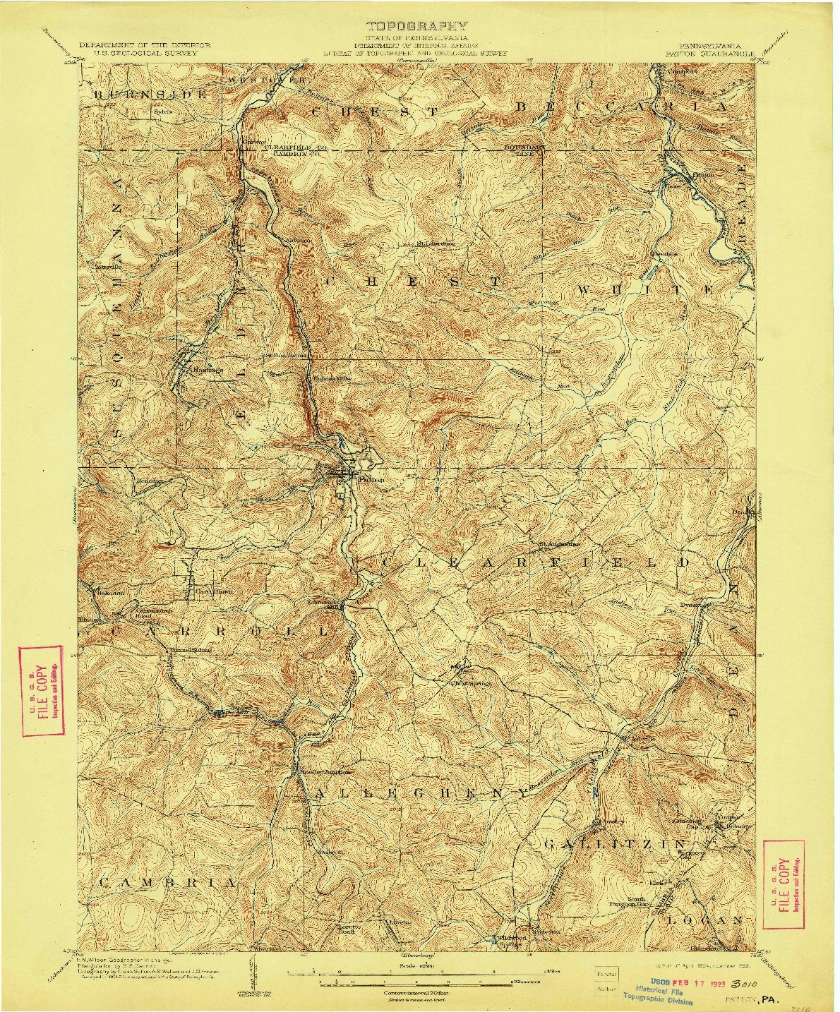 USGS 1:62500-SCALE QUADRANGLE FOR PATTON, PA 1904