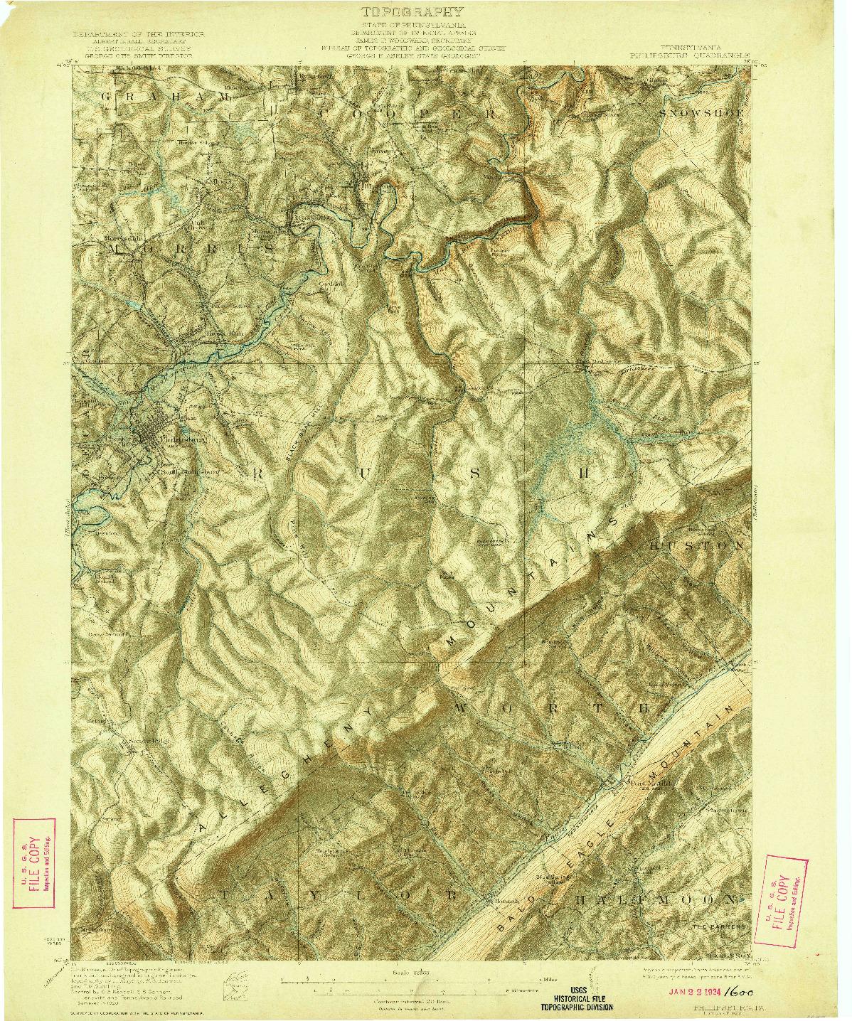 USGS 1:62500-SCALE QUADRANGLE FOR PHILIPSBURG, PA 1922