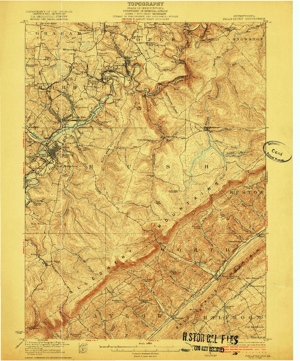 USGS 1:62500-SCALE QUADRANGLE FOR PHILIPSBURG, PA 1922