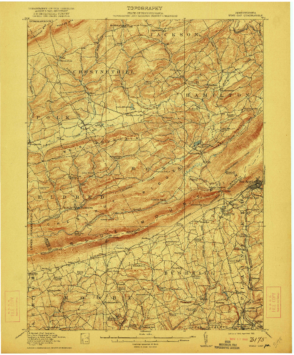 USGS 1:62500-SCALE QUADRANGLE FOR WIND GAP, PA 1916