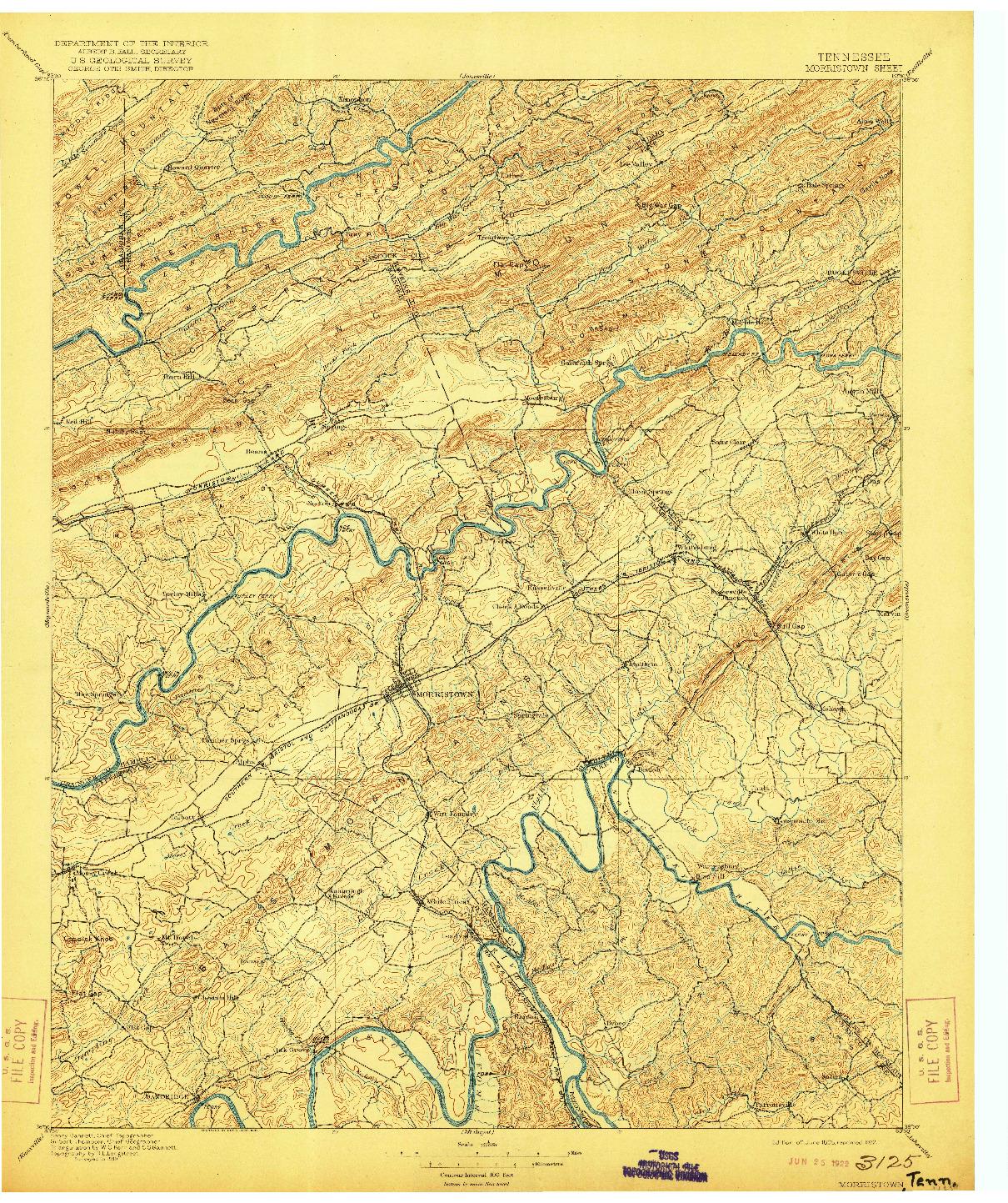 USGS 1:125000-SCALE QUADRANGLE FOR MORRISTOWN, TN 1895
