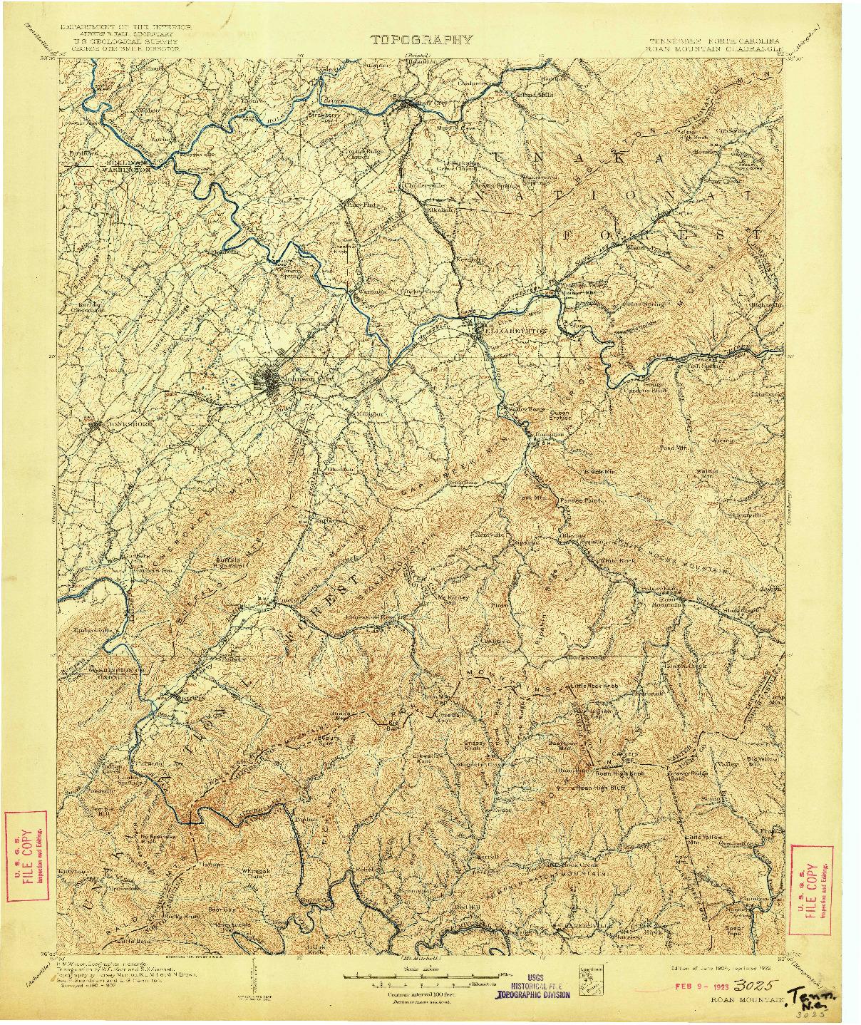 USGS 1:125000-SCALE QUADRANGLE FOR ROAN MOUNTAIN, TN 1904