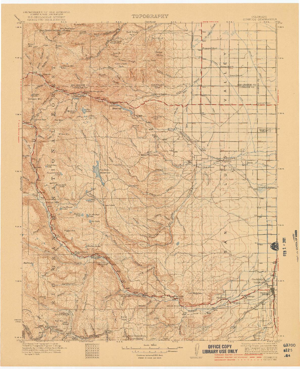 USGS 1:125000-SCALE QUADRANGLE FOR CONEJOS, CO 1922