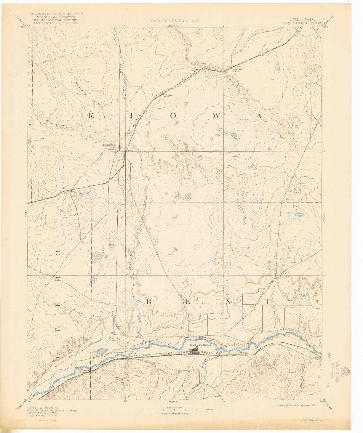 USGS 1:125000-SCALE QUADRANGLE FOR LAS ANIMAS, CO 1893