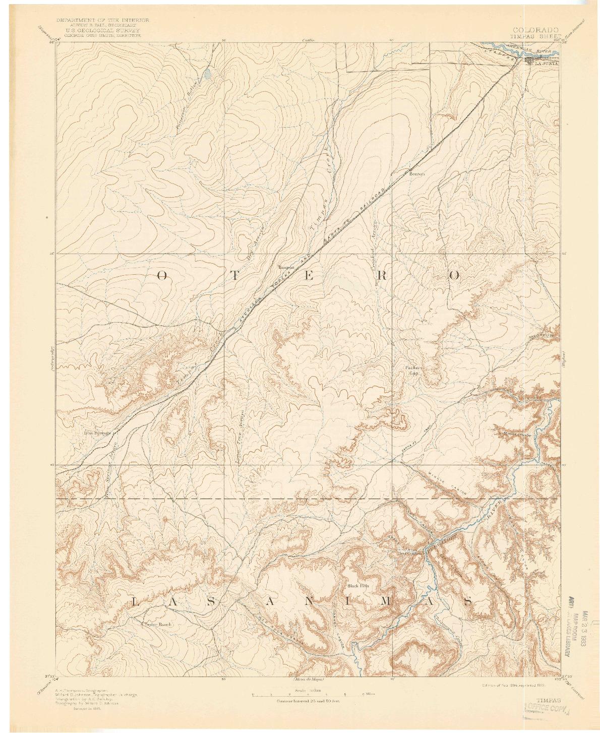 USGS 1:125000-SCALE QUADRANGLE FOR TIMPAS, CO 1894