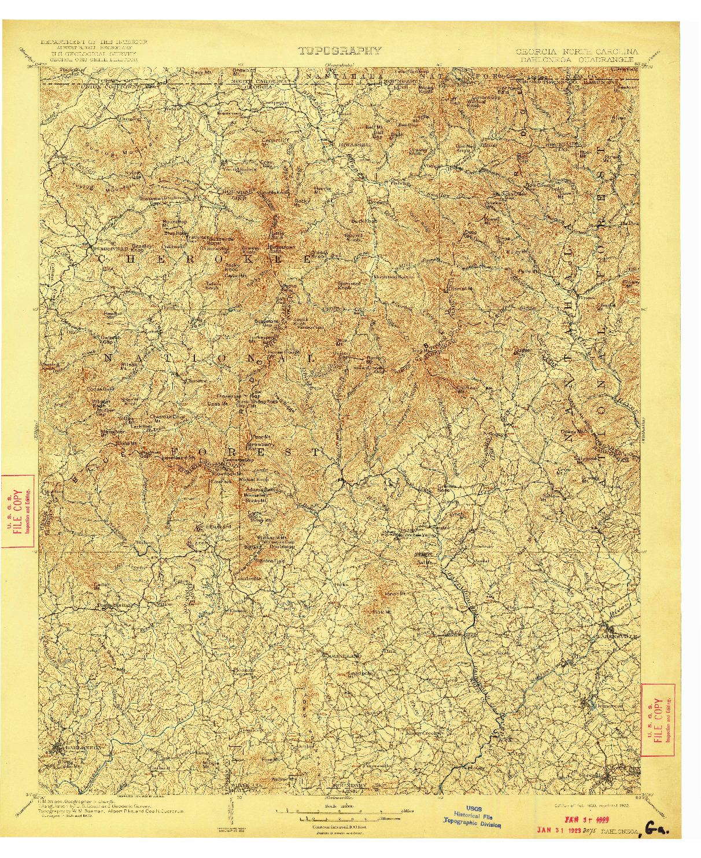 USGS 1:125000-SCALE QUADRANGLE FOR DAHLONEGA, GA 1903
