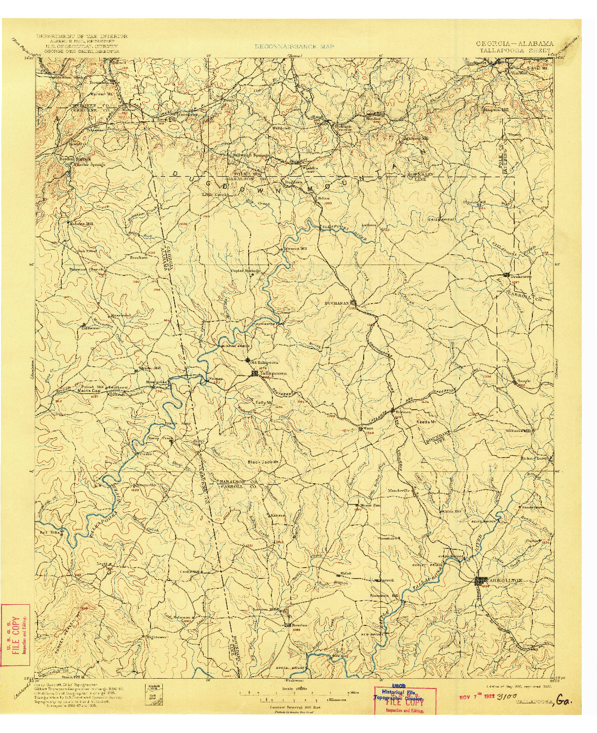 USGS 1:125000-SCALE QUADRANGLE FOR TALLAPOOSA, GA 1897