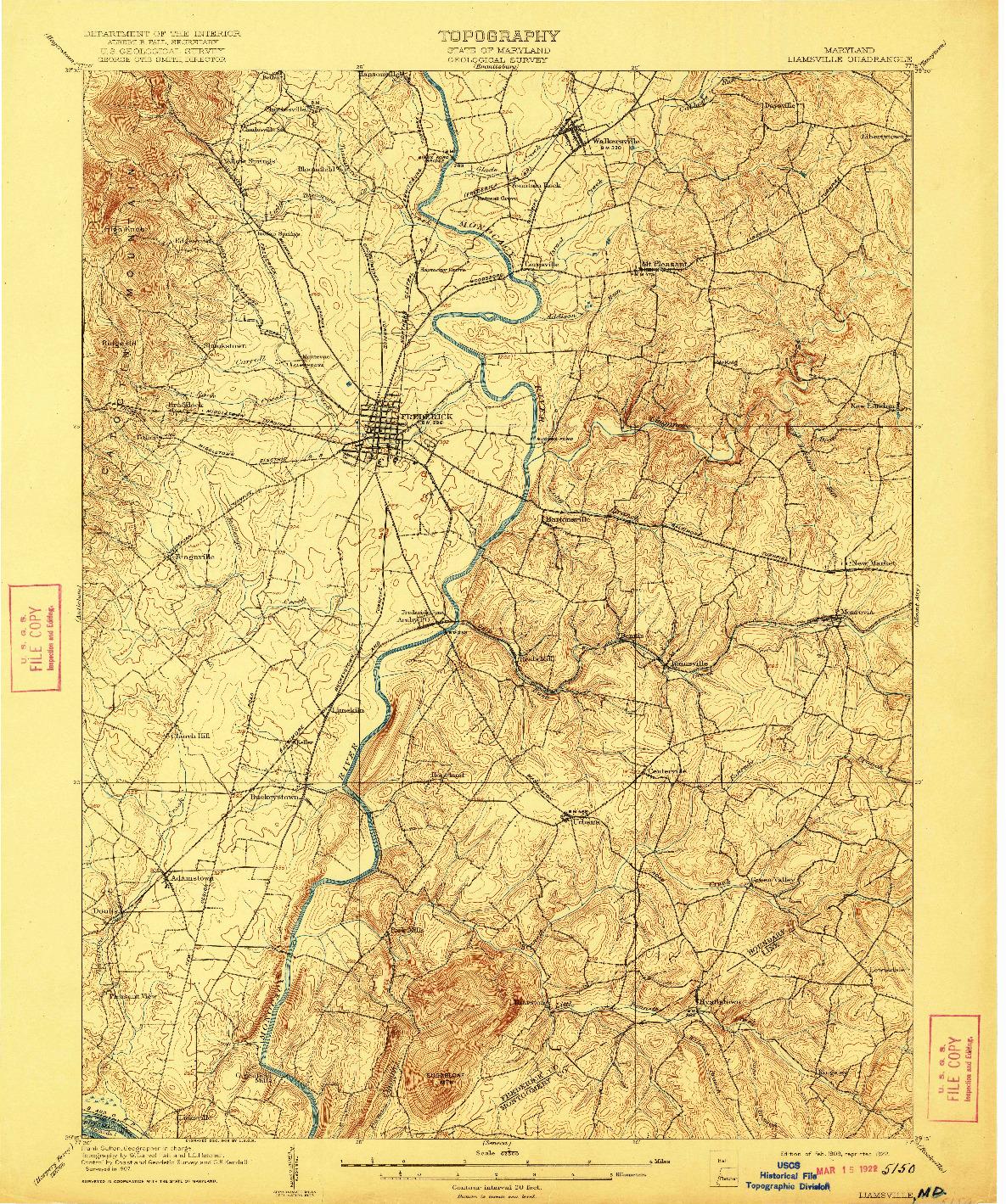USGS 1:62500-SCALE QUADRANGLE FOR IJAMSVILLE, MD 1909