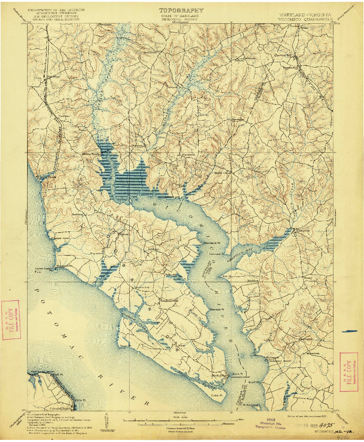 USGS 1:62500-SCALE QUADRANGLE FOR WICOMICO, MD 1914