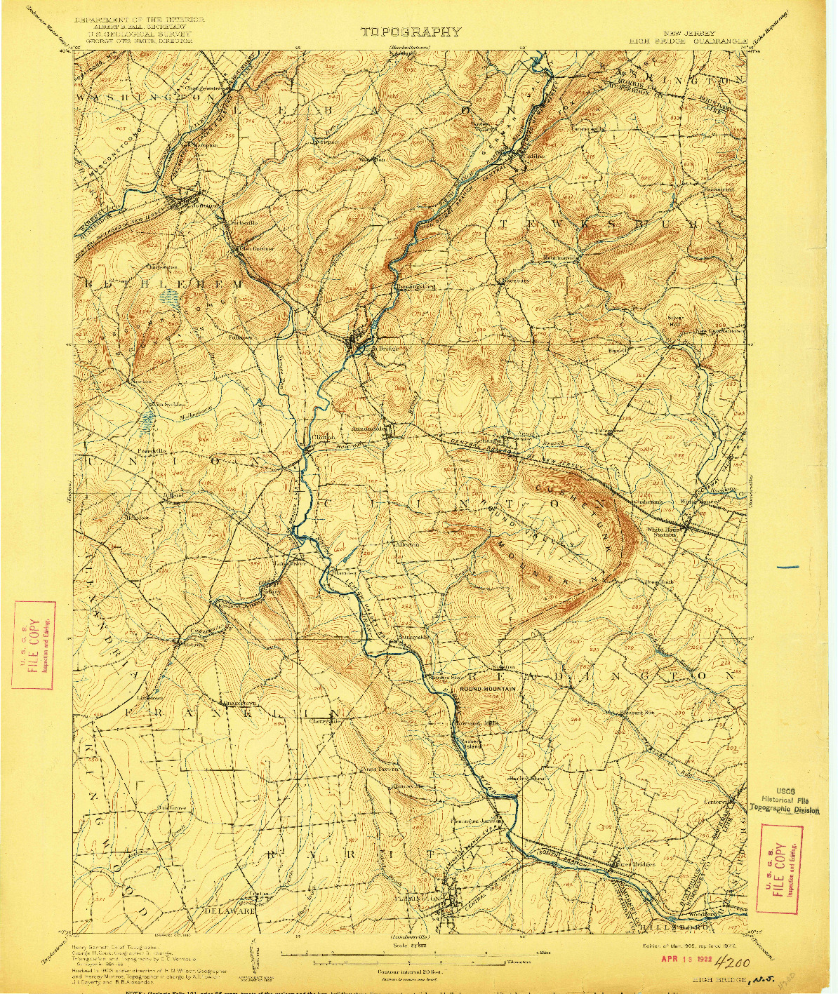 USGS 1:62500-SCALE QUADRANGLE FOR HIGH BRIDGE, NJ 1905