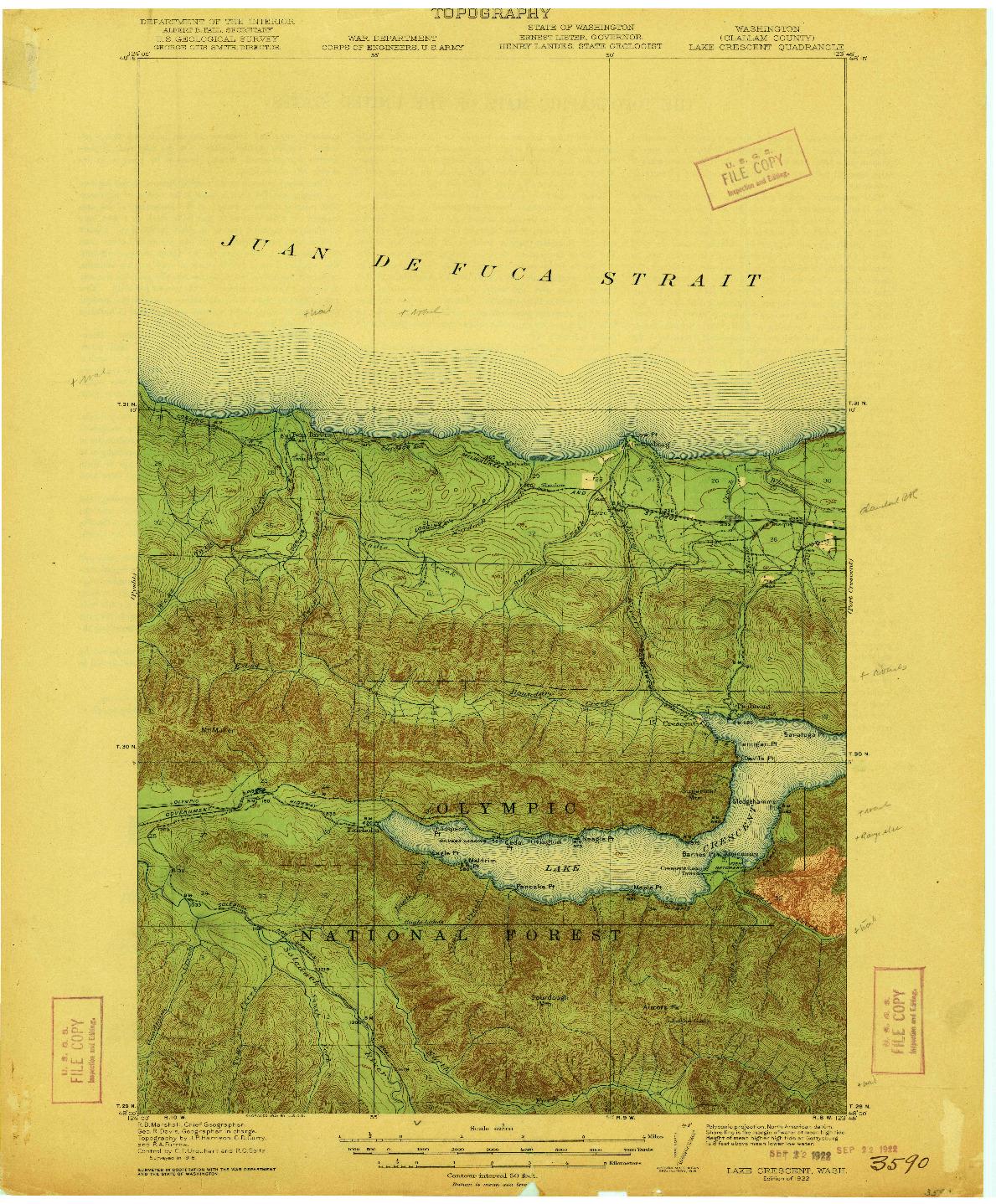 USGS 1:62500-SCALE QUADRANGLE FOR LAKE CRESCENT, WA 1922