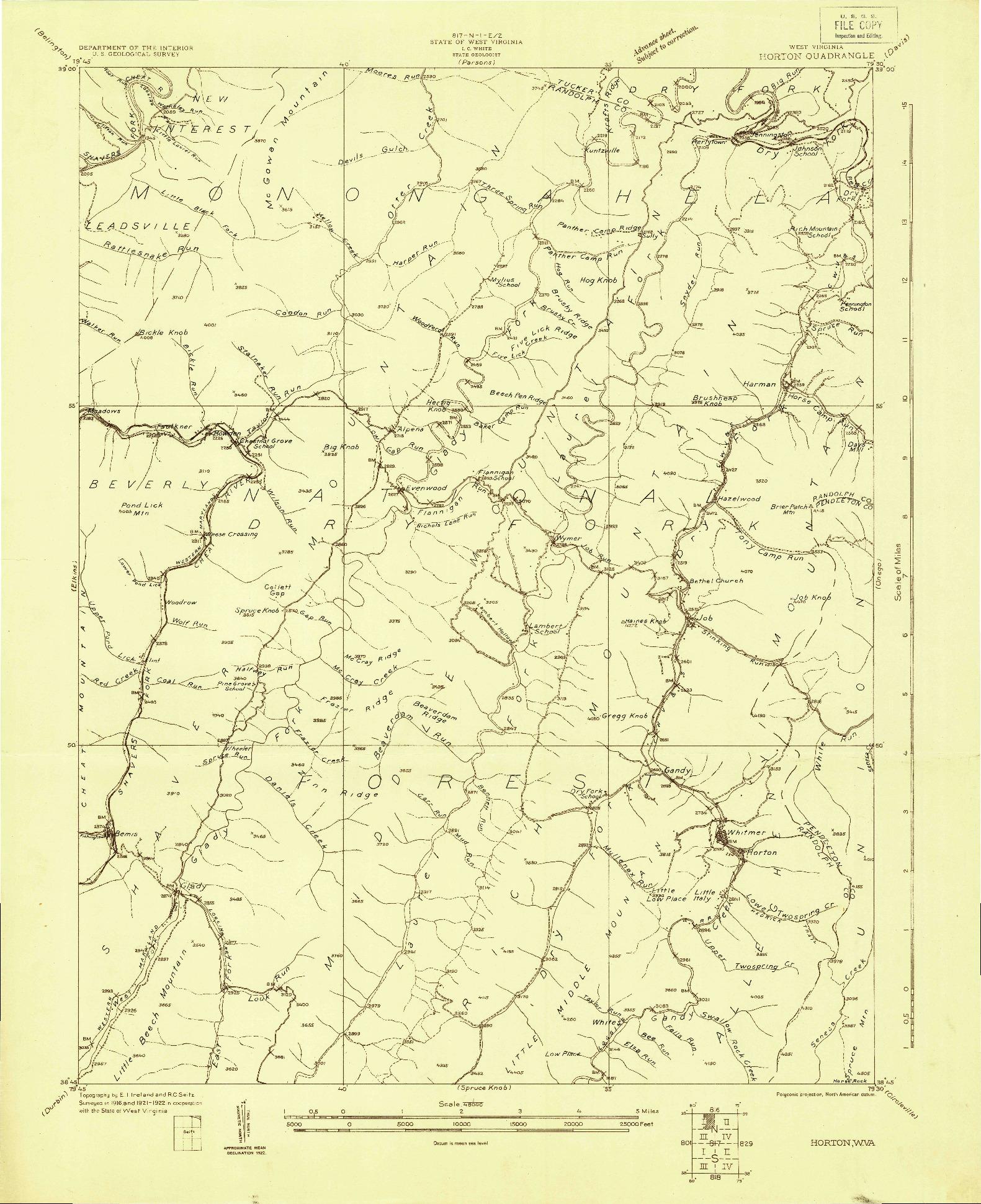 USGS 1:48000-SCALE QUADRANGLE FOR HORTON, WV 1922