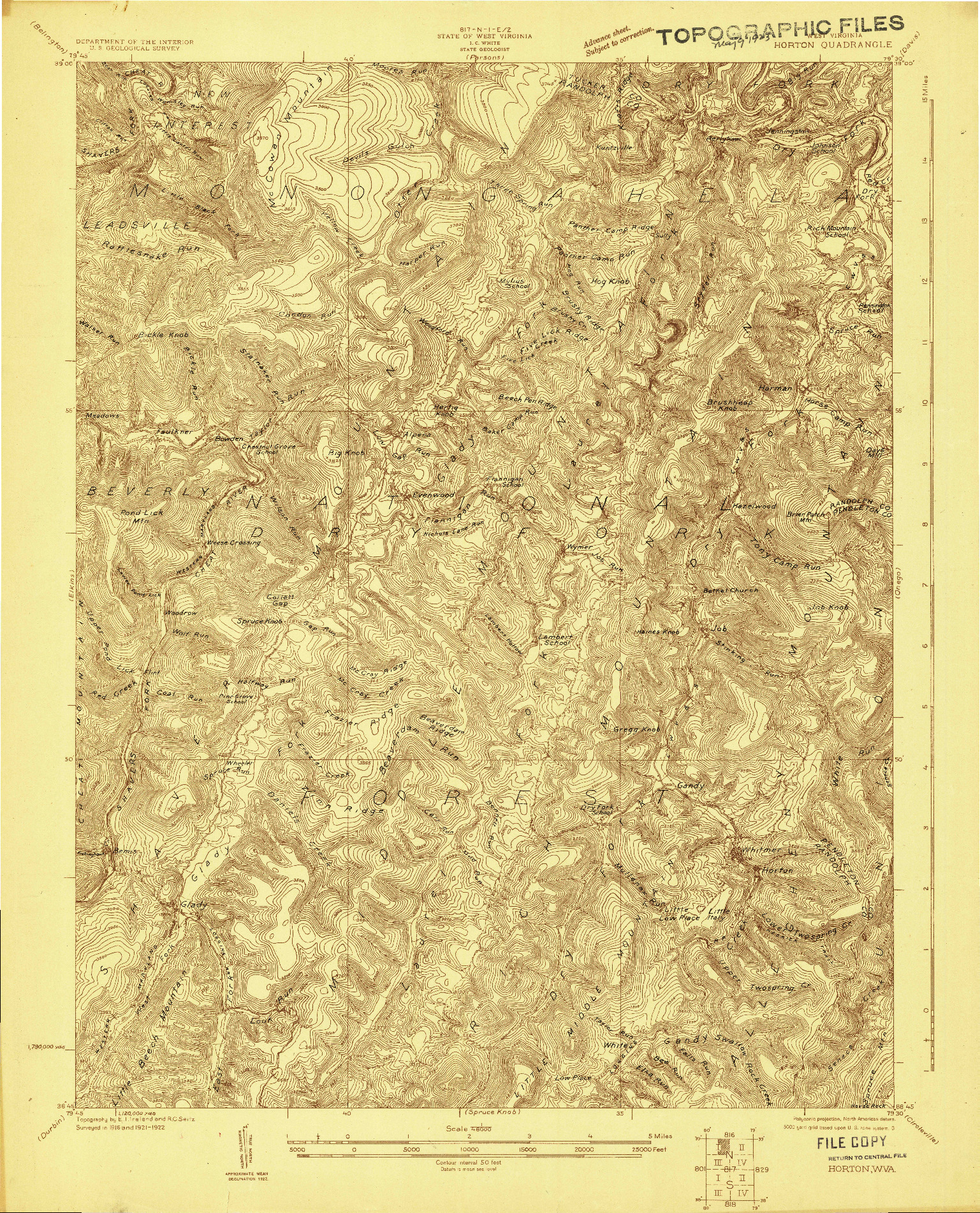 USGS 1:48000-SCALE QUADRANGLE FOR HORTON, WV 1922