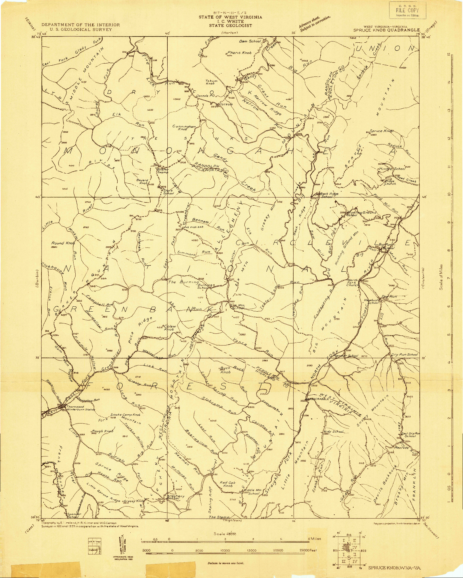 USGS 1:48000-SCALE QUADRANGLE FOR SPRUCE KNOB, WV 1922