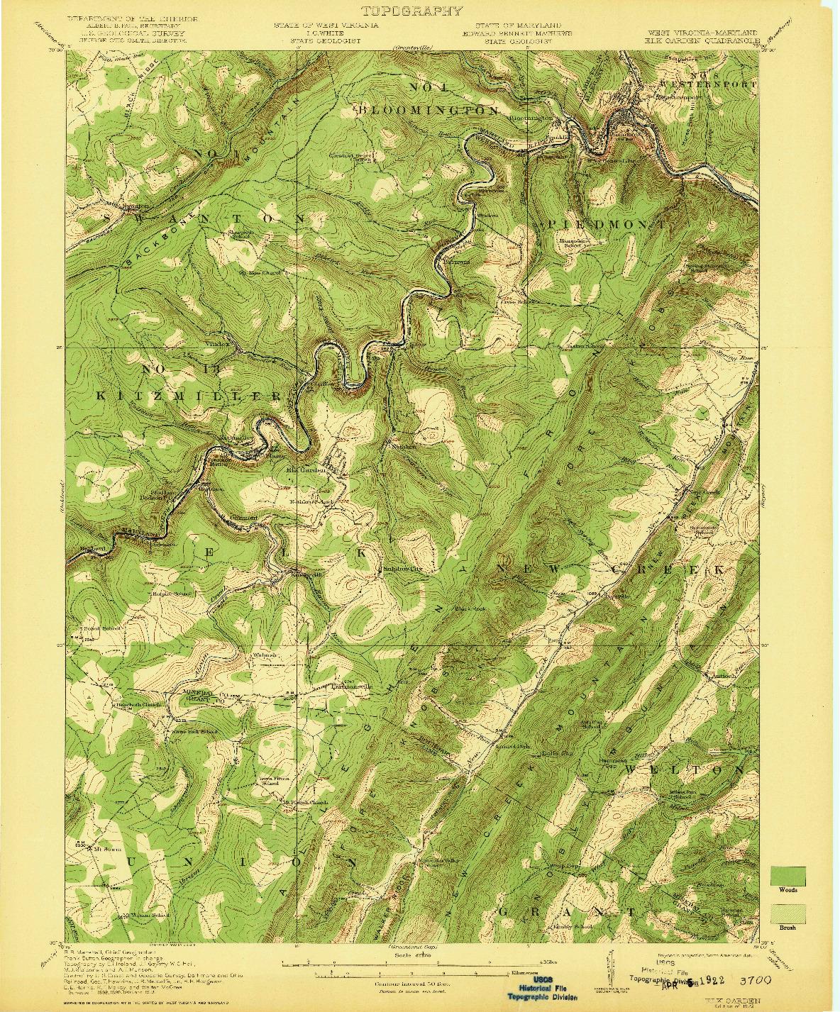 USGS 1:62500-SCALE QUADRANGLE FOR ELK GARDEN, WV 1922