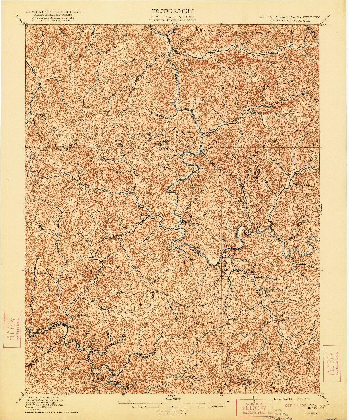 USGS 1:62500-SCALE QUADRANGLE FOR GILBERT, WV 1912