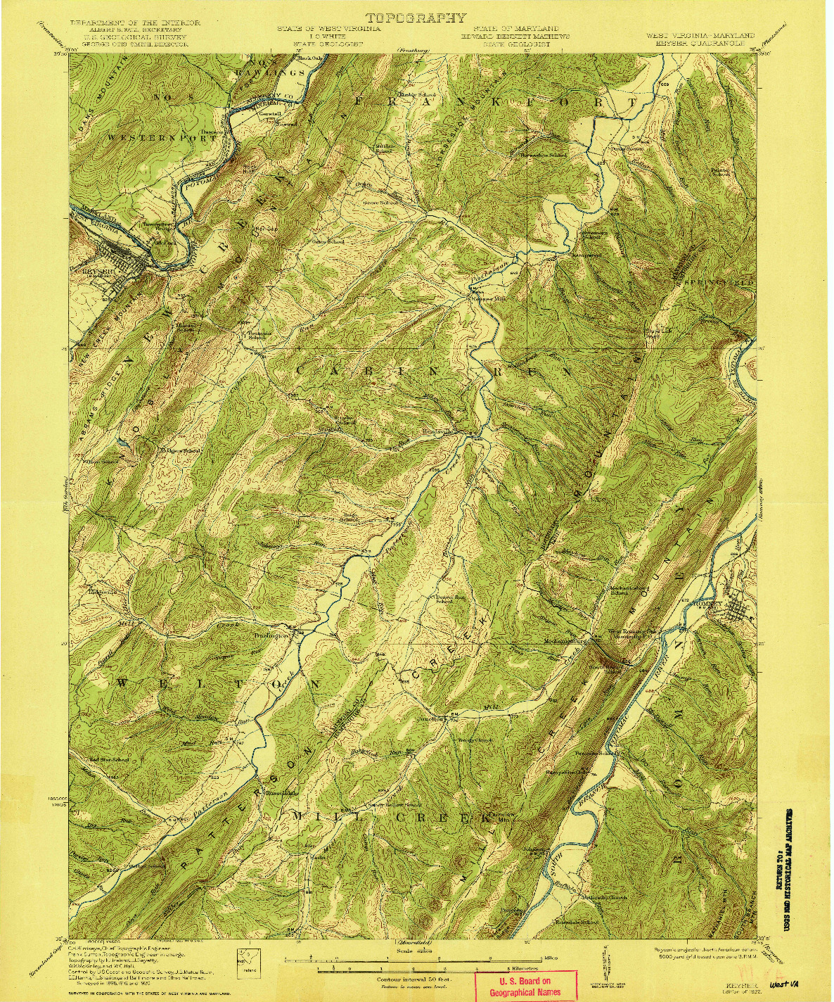 USGS 1:62500-SCALE QUADRANGLE FOR KEYSER, WV 1922