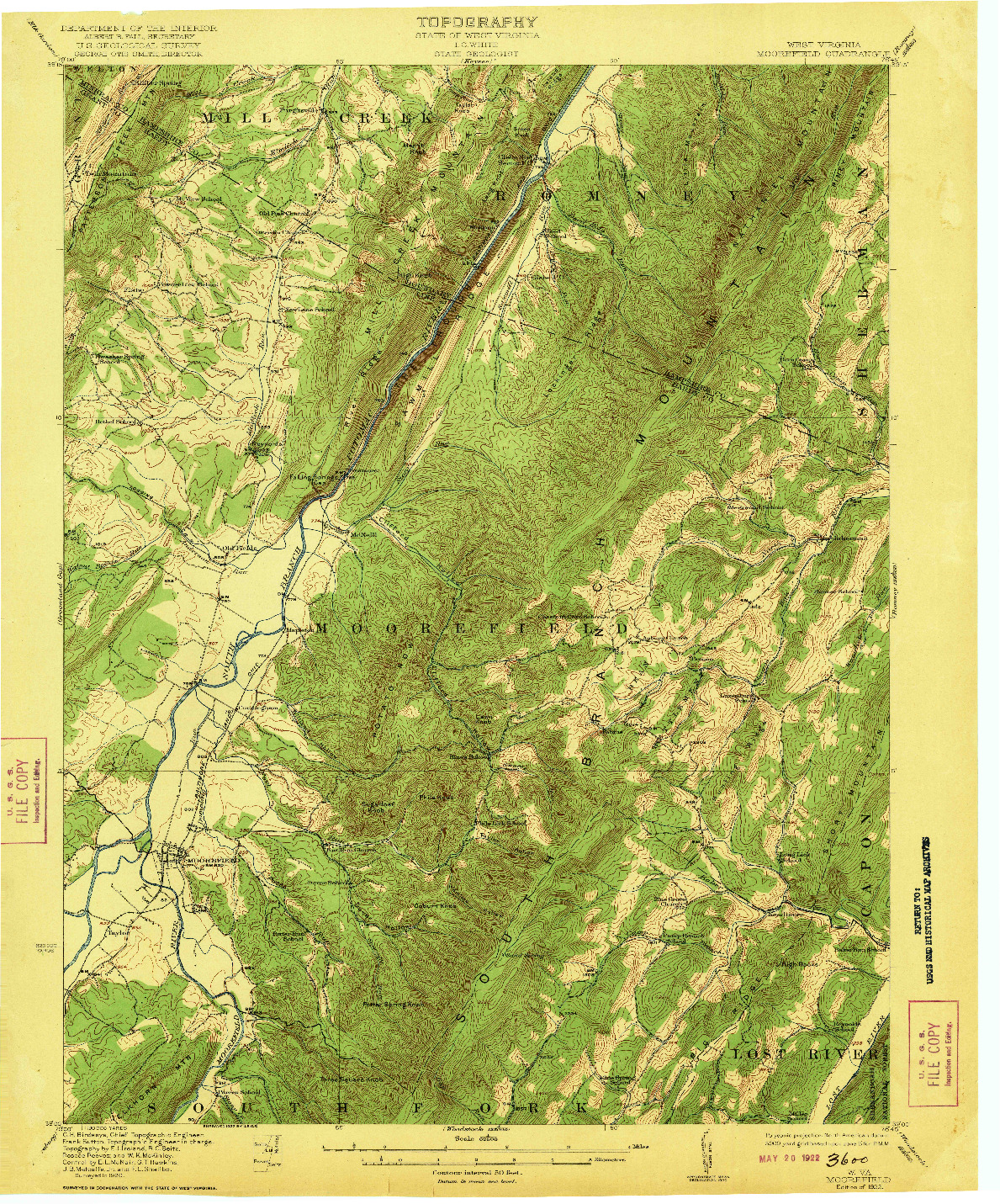 USGS 1:62500-SCALE QUADRANGLE FOR MOOREFIELD, WV 1922