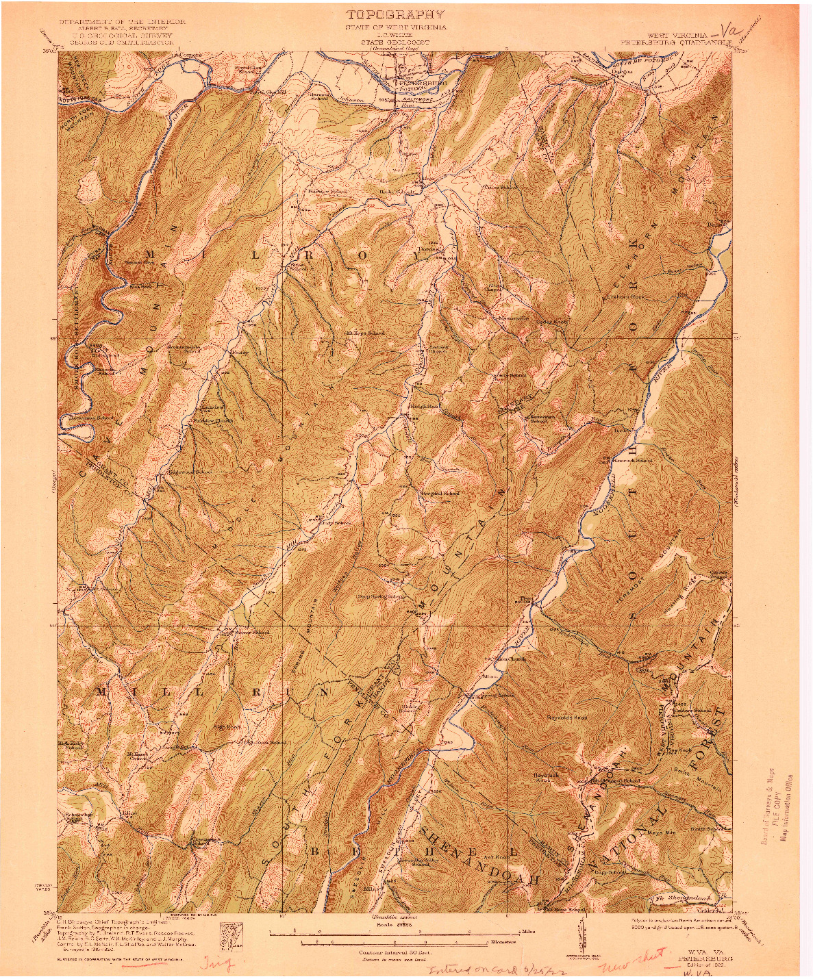 USGS 1:62500-SCALE QUADRANGLE FOR PETERSBURG, WV 1922