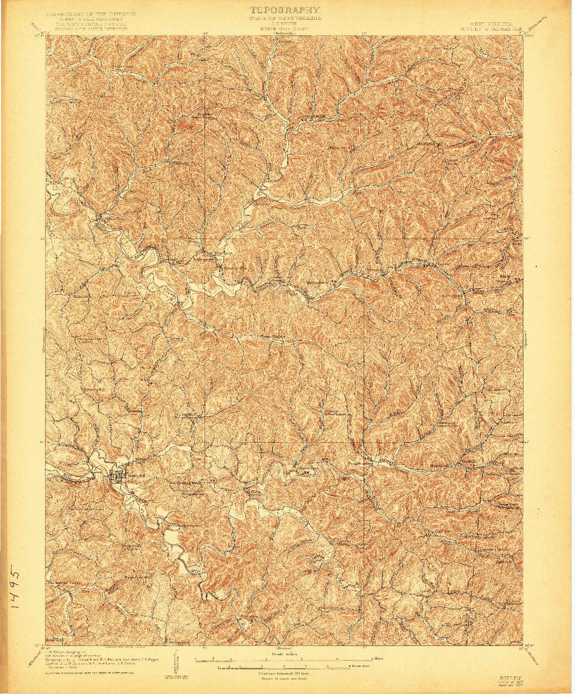 USGS 1:62500-SCALE QUADRANGLE FOR RIPLEY, WV 1907