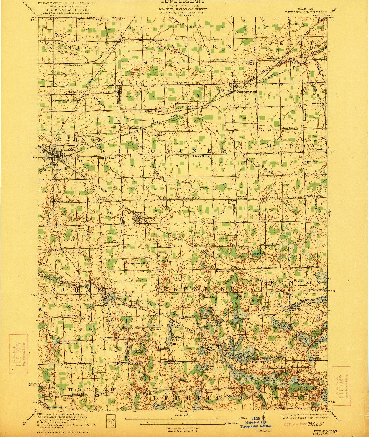 USGS 1:62500-SCALE QUADRANGLE FOR DURAND, MI 1922