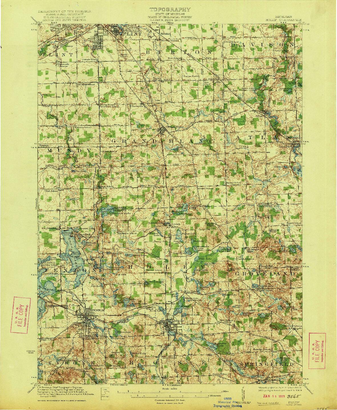 USGS 1:62500-SCALE QUADRANGLE FOR HOLLY, MI 1922