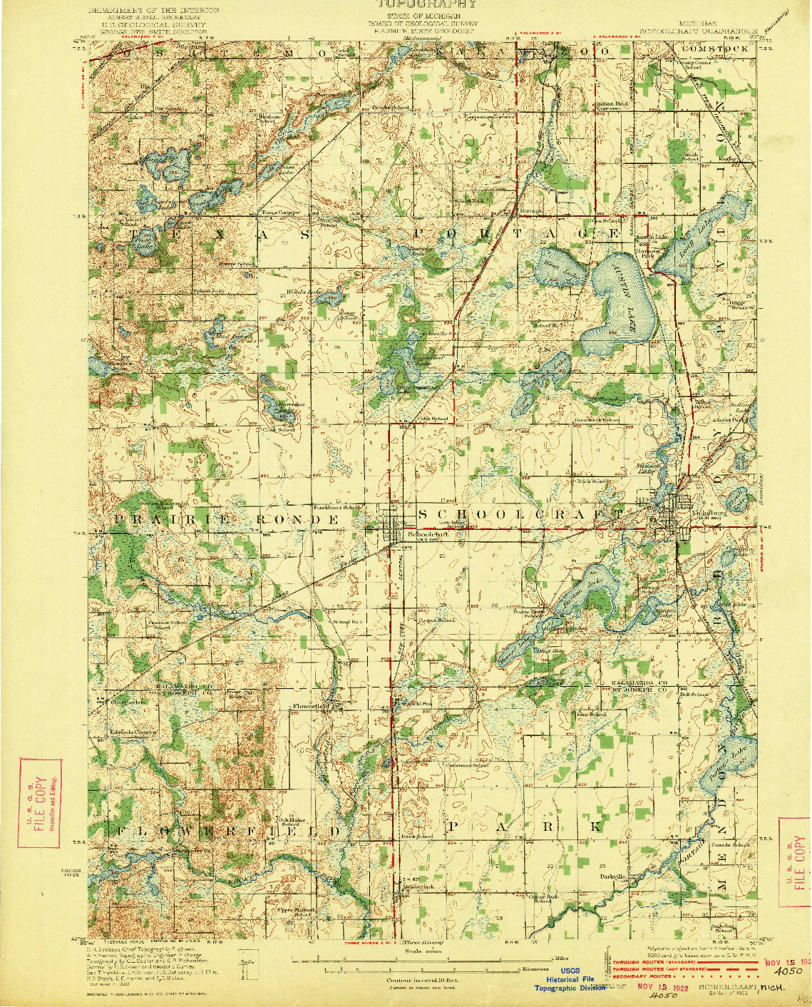 USGS 1:62500-SCALE QUADRANGLE FOR SCHOOLCRAFT, MI 1922
