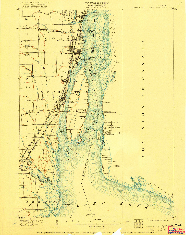 USGS 1:62500-SCALE QUADRANGLE FOR WYANDOTTE, MI 1906
