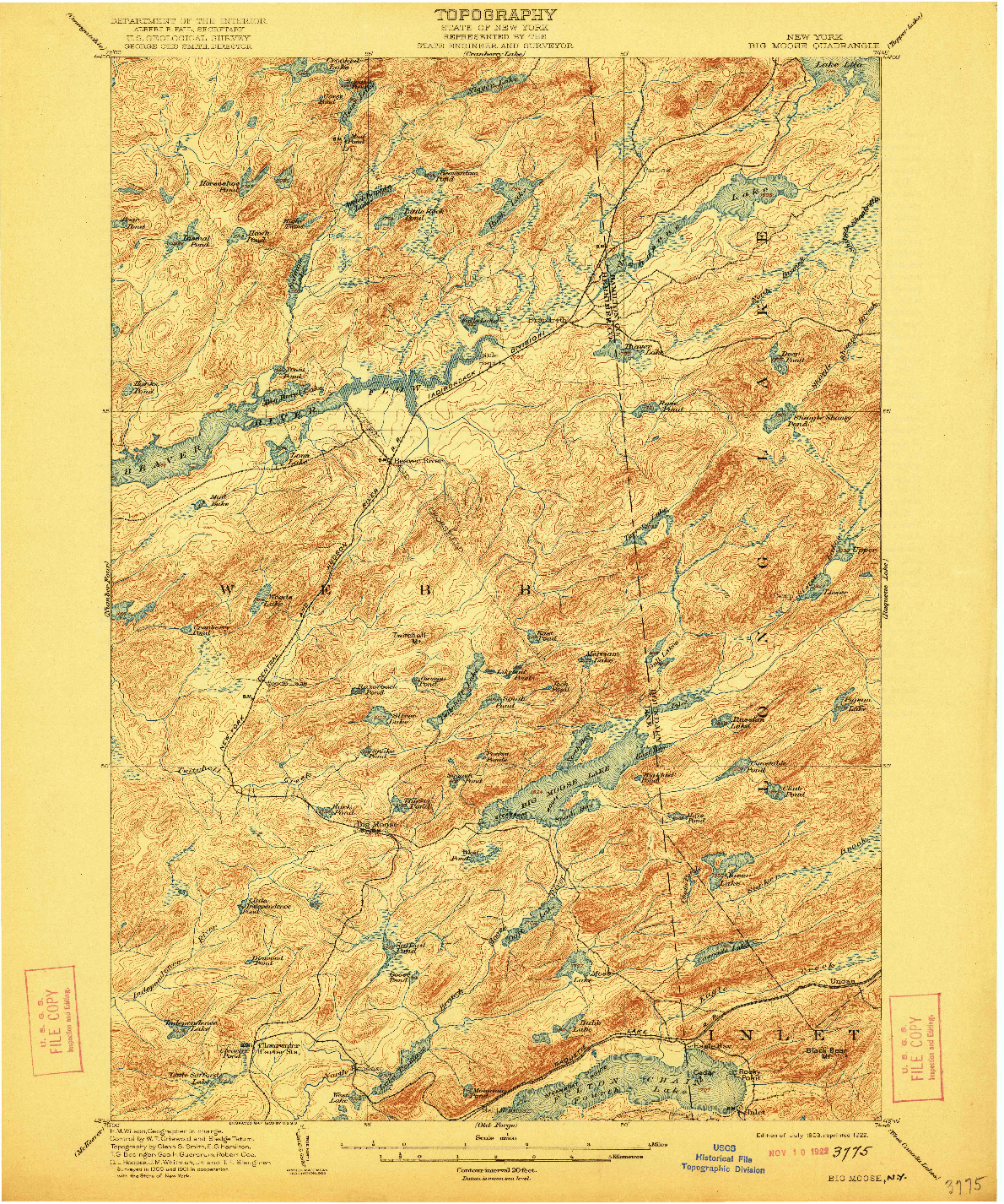 USGS 1:62500-SCALE QUADRANGLE FOR BIG MOOSE, NY 1903
