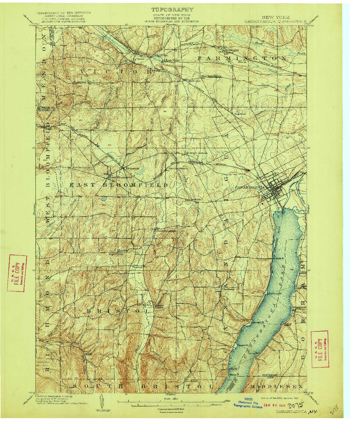 USGS 1:62500-SCALE QUADRANGLE FOR CANANDAIGUA, NY 1903