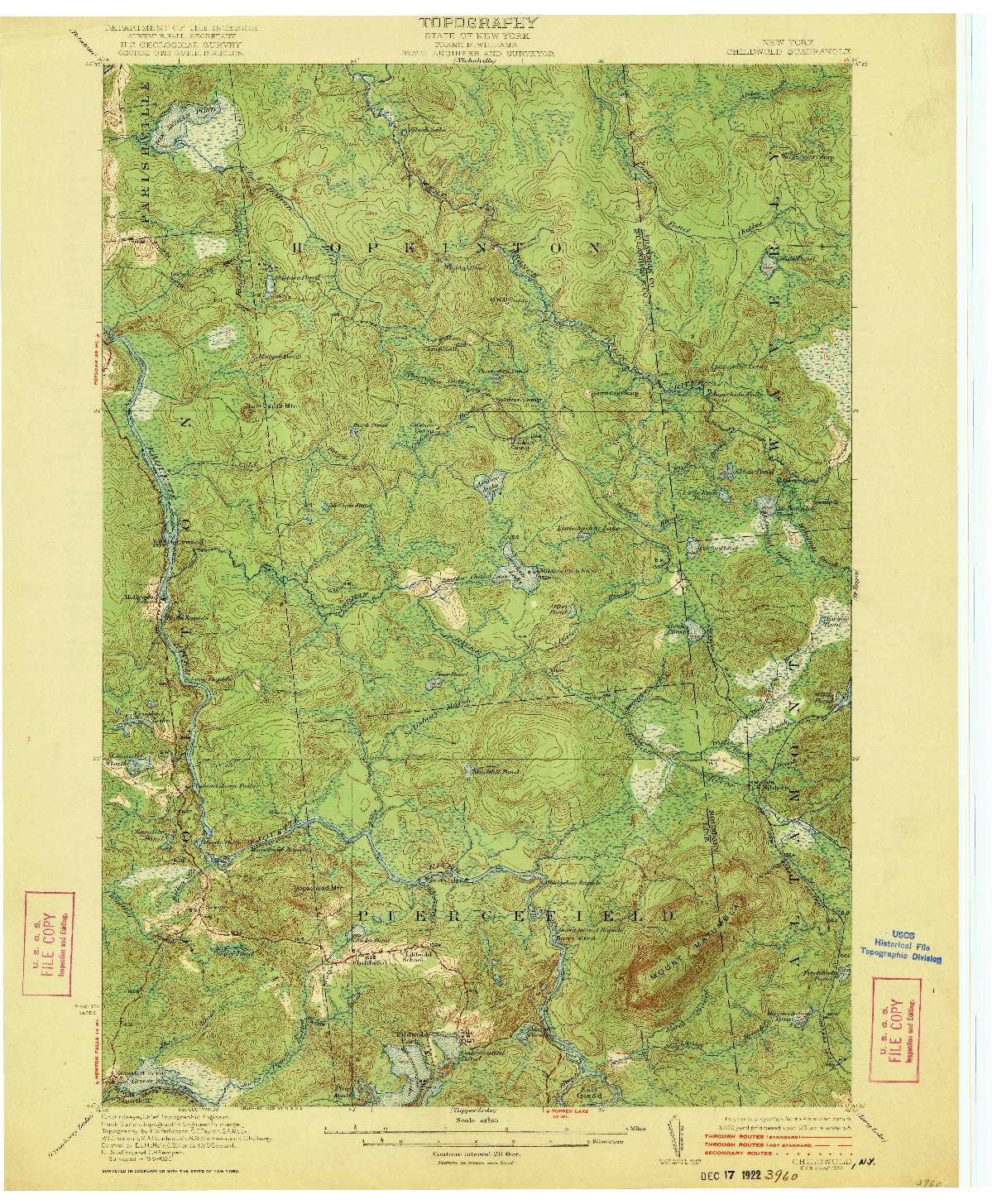 USGS 1:62500-SCALE QUADRANGLE FOR CHILDWOLD, NY 1922