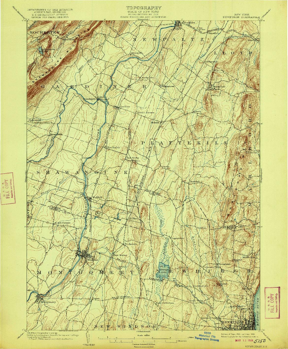 USGS 1:62500-SCALE QUADRANGLE FOR NEWBURGH, NY 1903