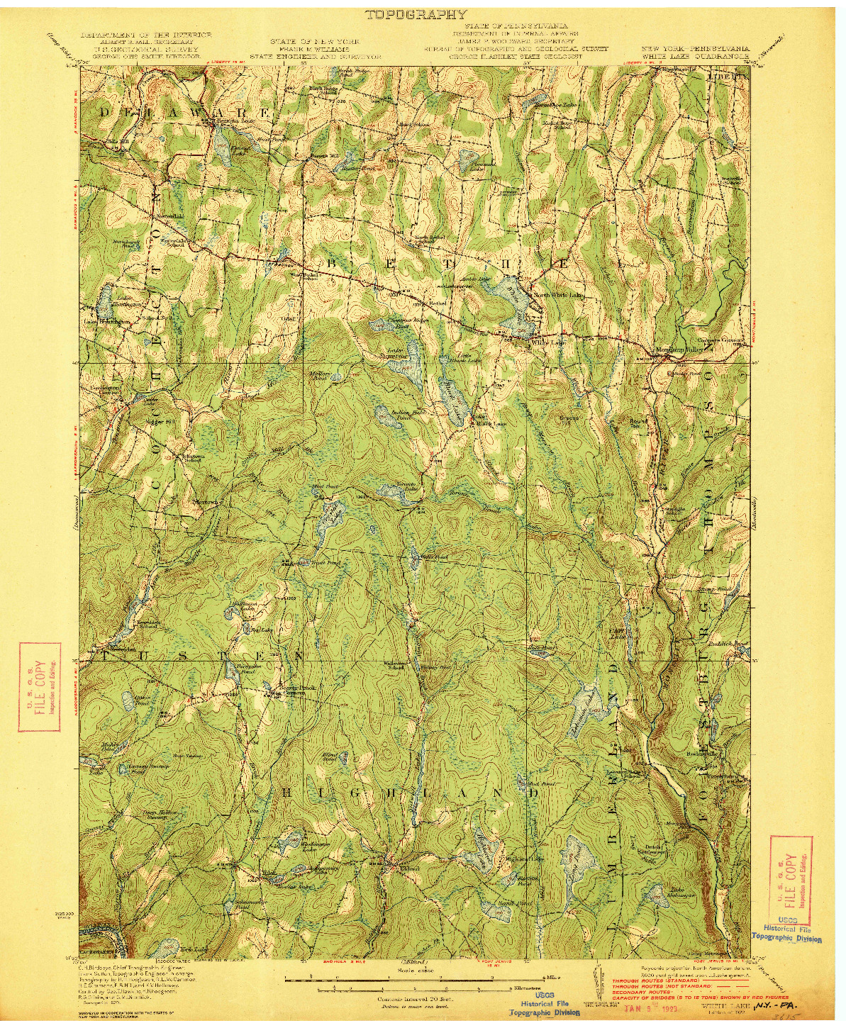 USGS 1:62500-SCALE QUADRANGLE FOR WHITE LAKE, NY 1922