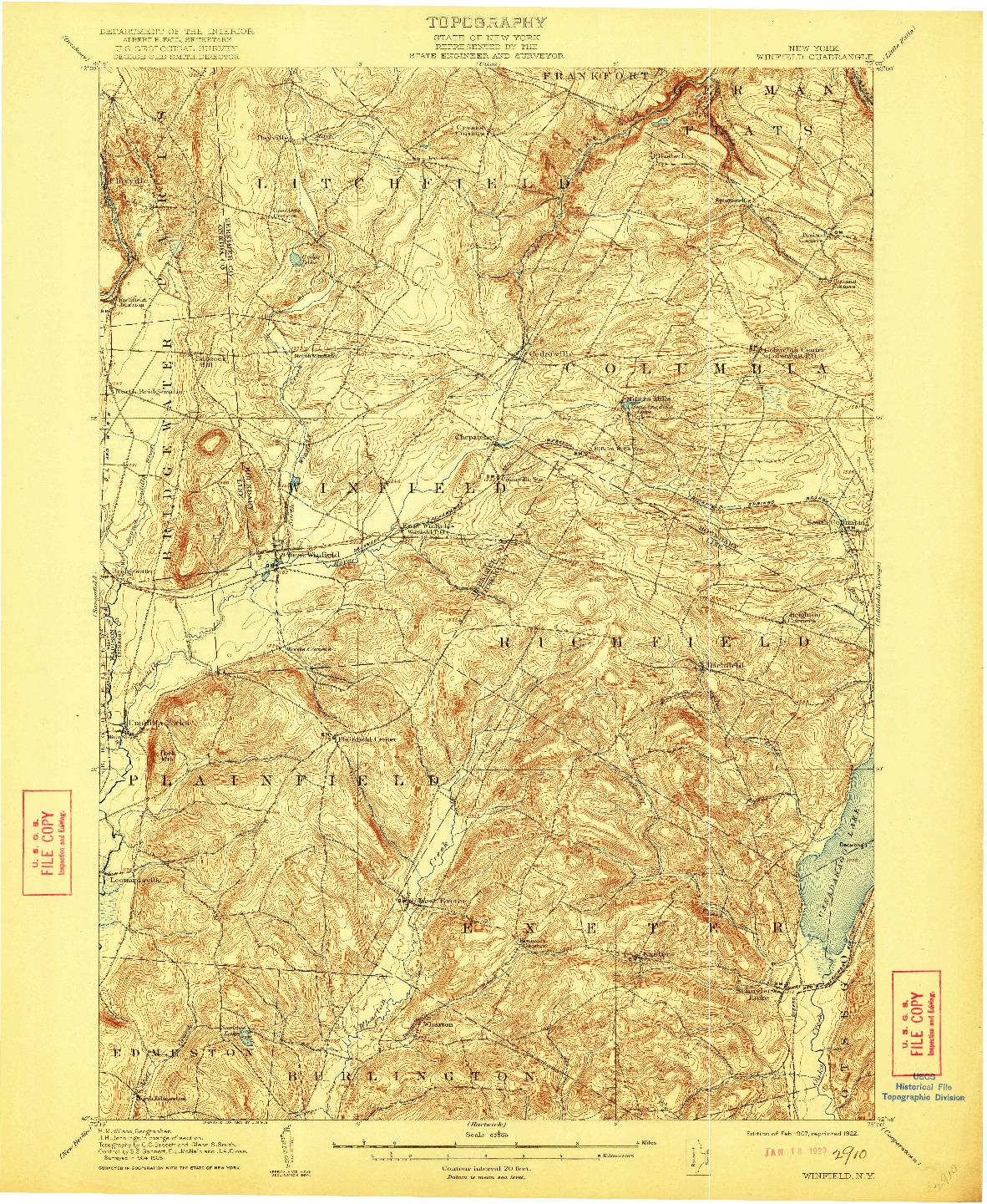 USGS 1:62500-SCALE QUADRANGLE FOR WINFIELD, NY 1907