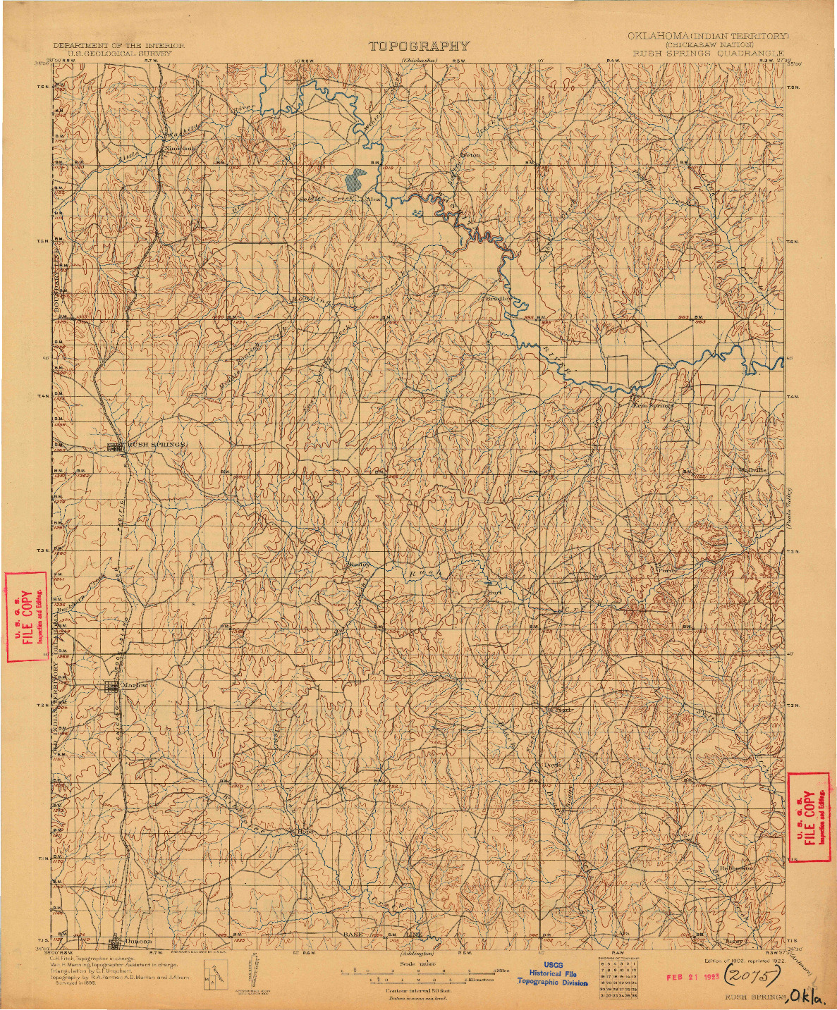 USGS 1:125000-SCALE QUADRANGLE FOR RUSH SPRINGS, OK 1902