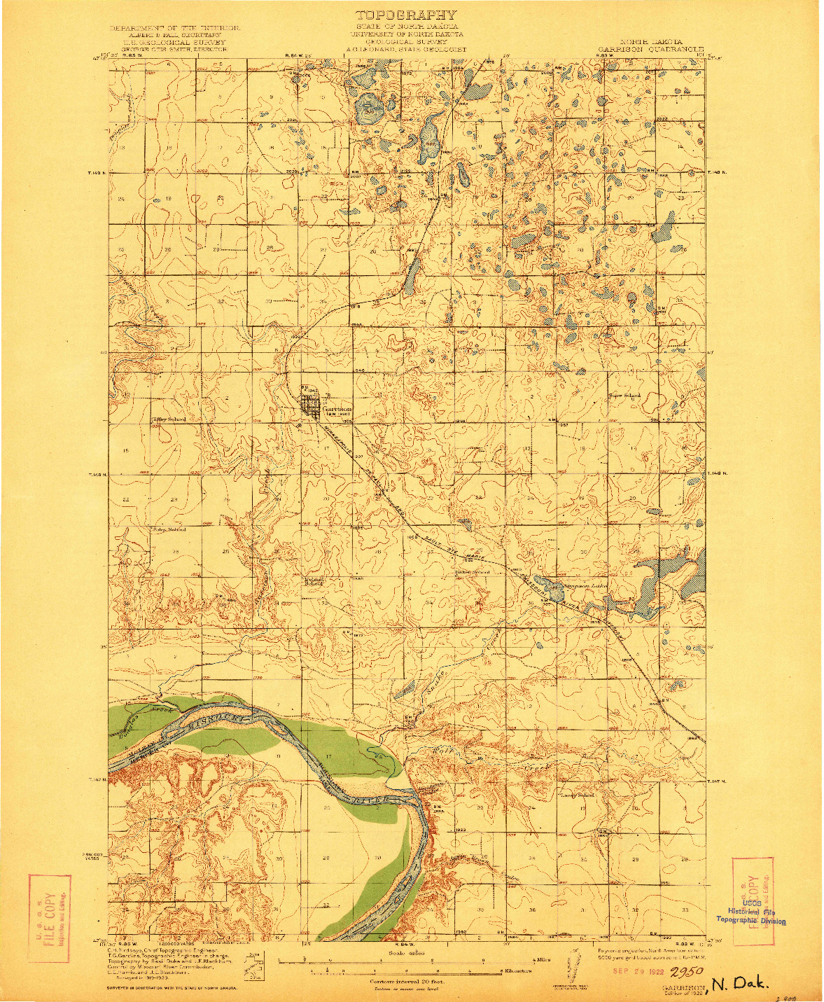 USGS 1:62500-SCALE QUADRANGLE FOR GARRISON, ND 1922