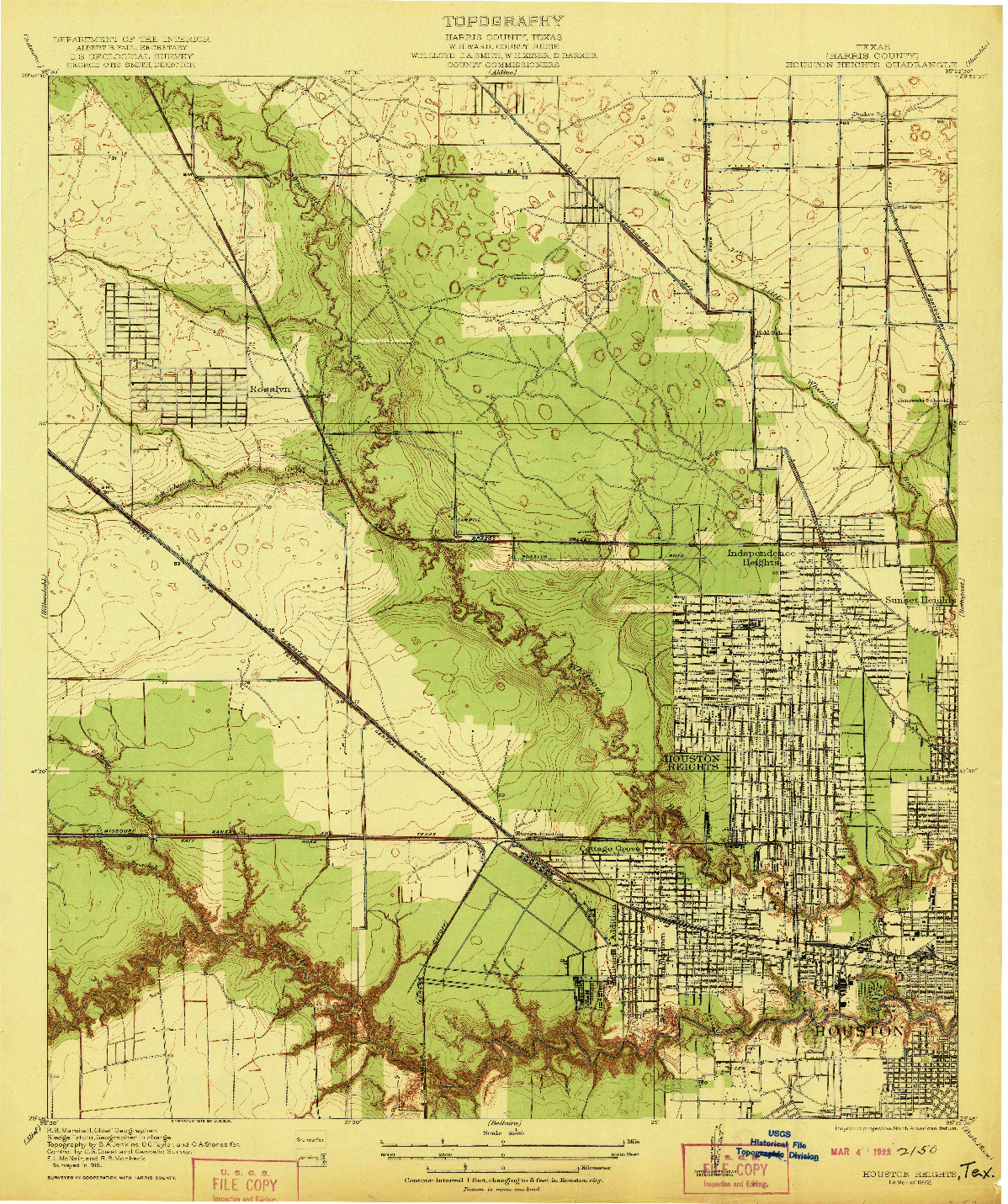 USGS 1:31680-SCALE QUADRANGLE FOR HOUSTON HEIGHTS, TX 1922
